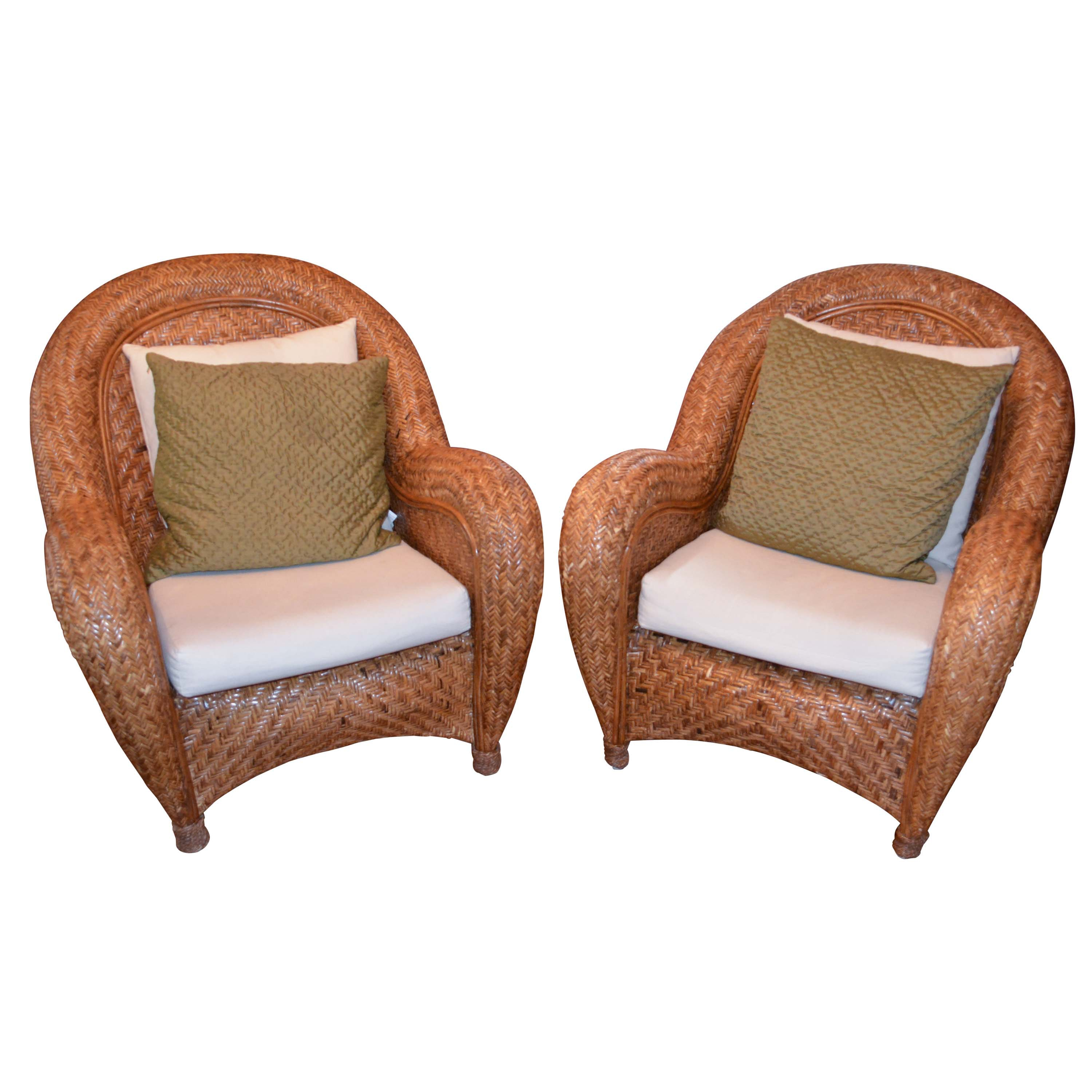 Pair Of Rattan Chairs With Four Pottery Barn Pillows  Pottery Barn Rattan Chair S88