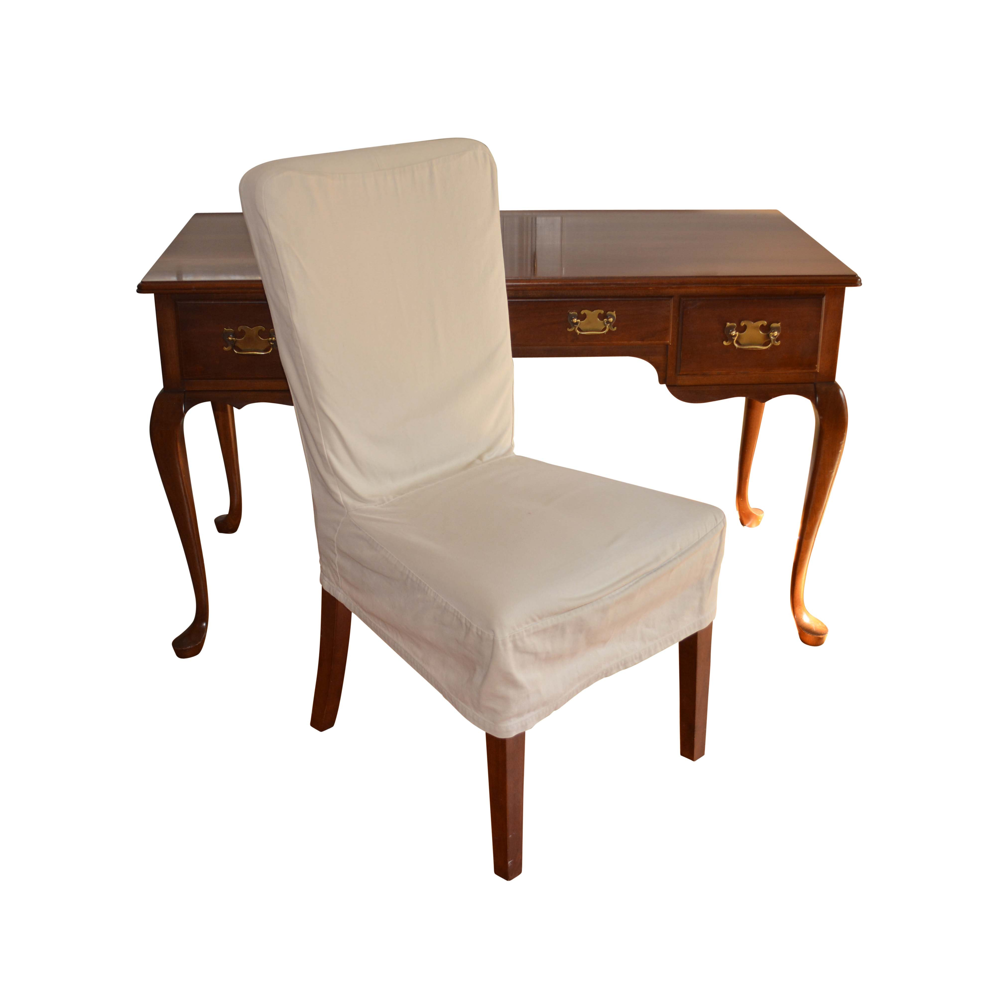 Queen Anne Style Cherry Desk with Pottery Barn Chair