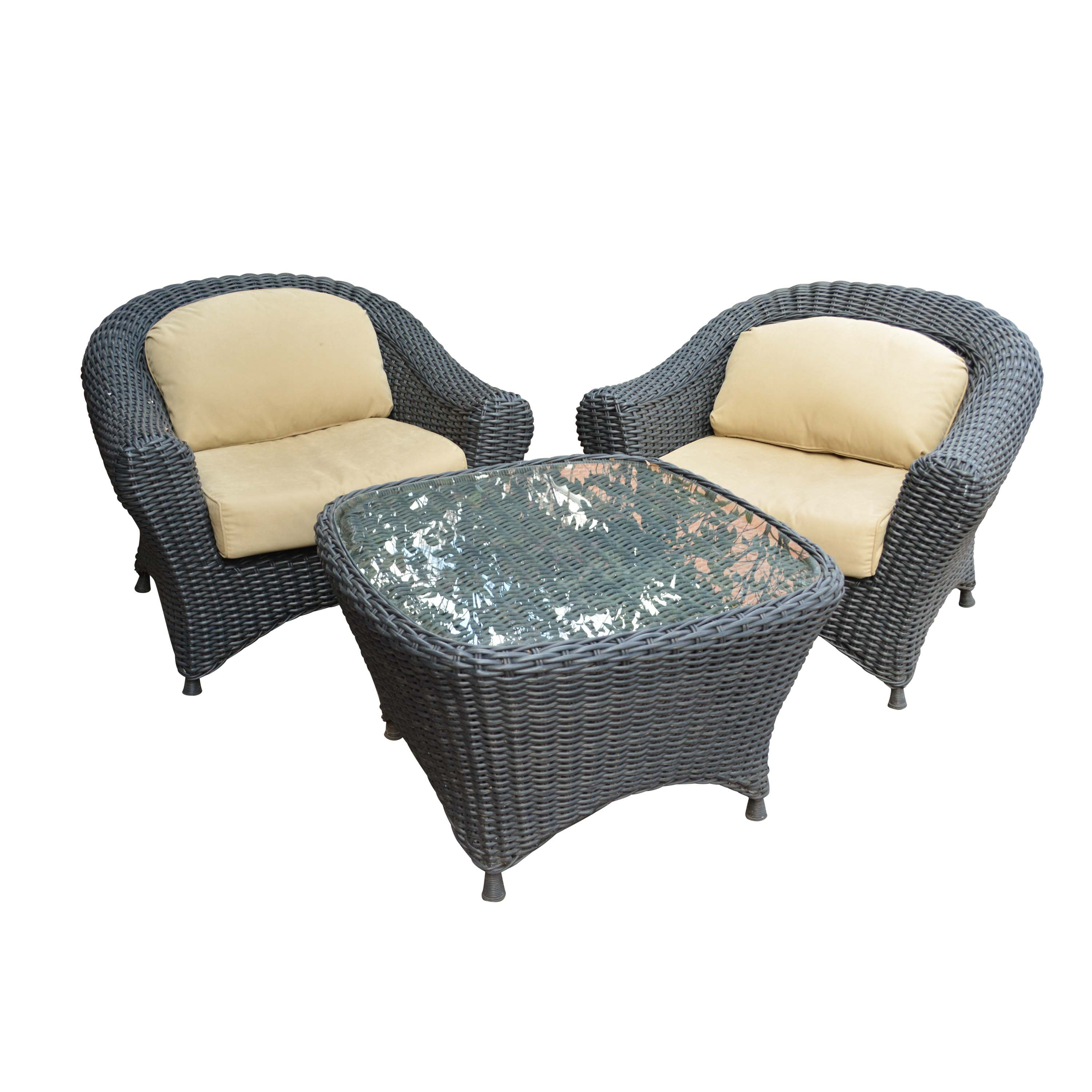 Black Plastic Wicker Armchairs and Glass Top Table