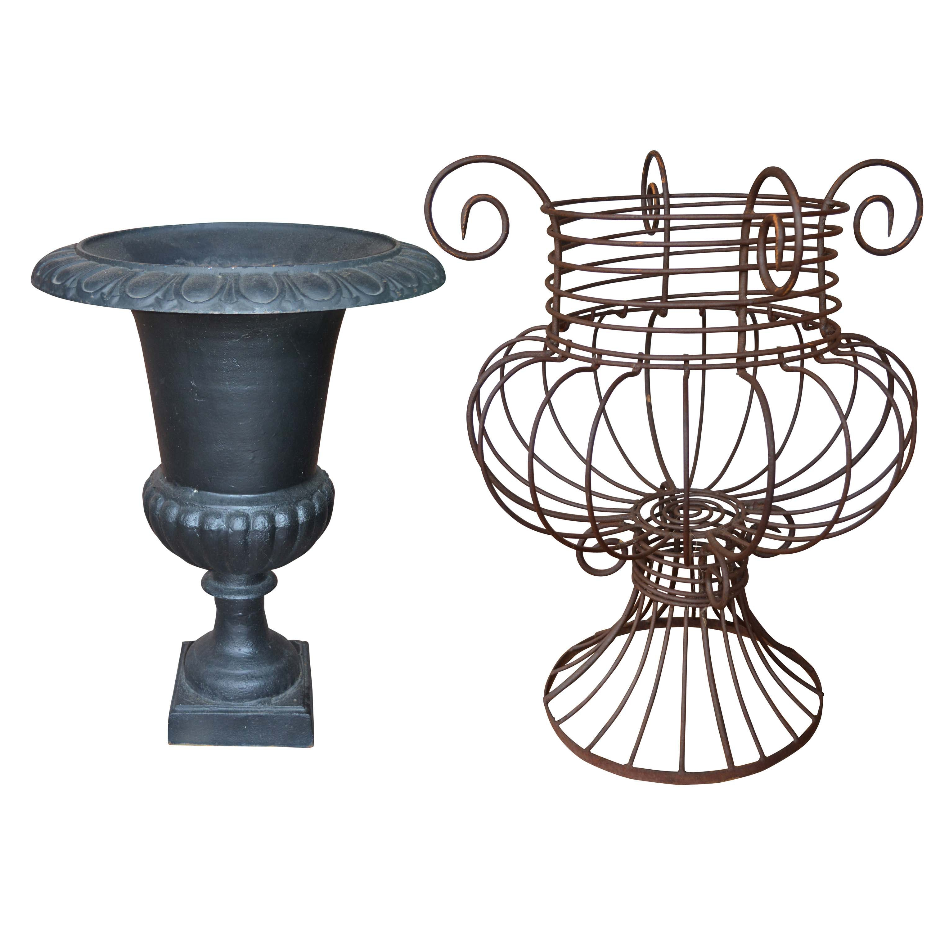Cast Iron Urn Planter and Wire Metal Planter