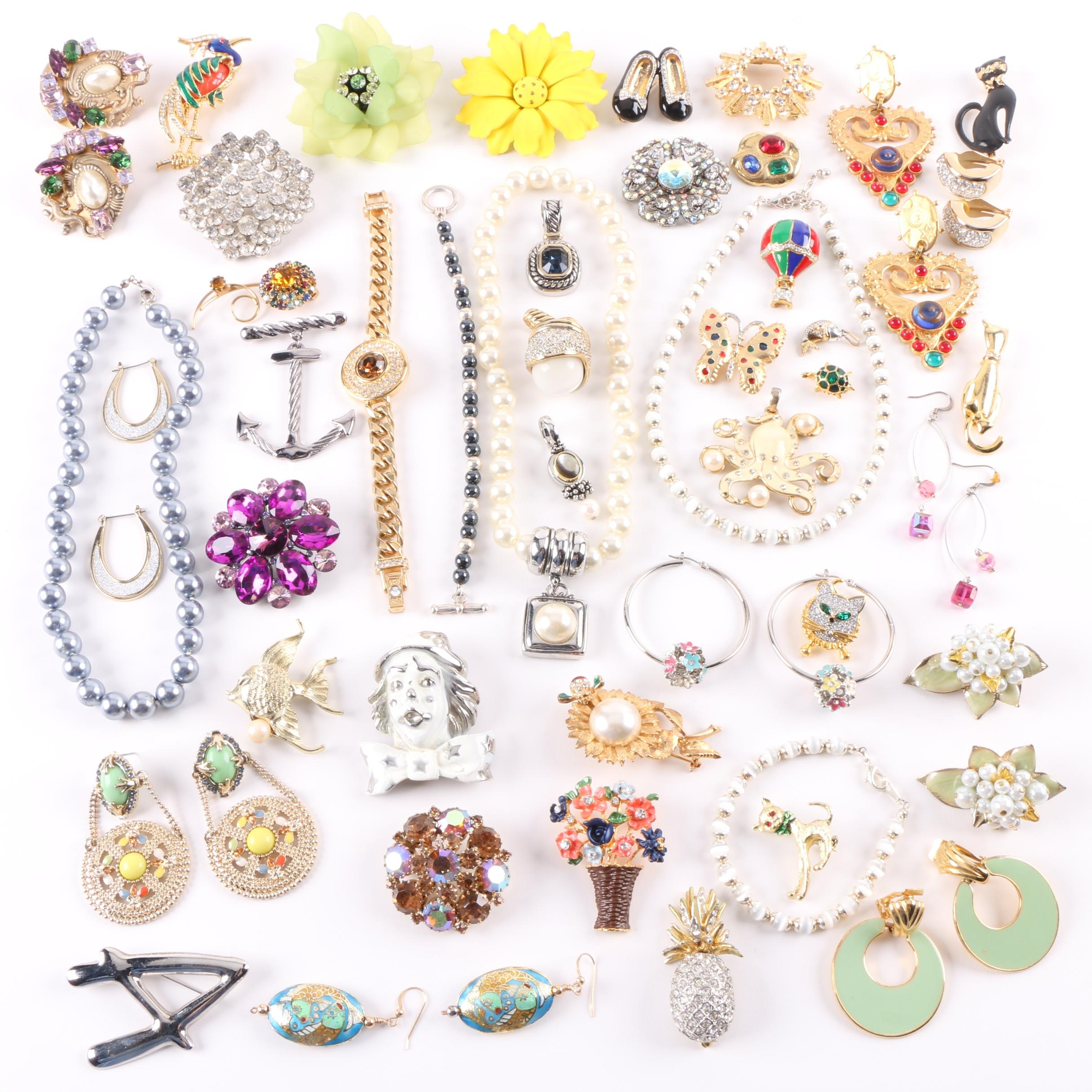Assortment of Jewelry Including Imitation Pearl, Roger Michael Ltd, and Weiss