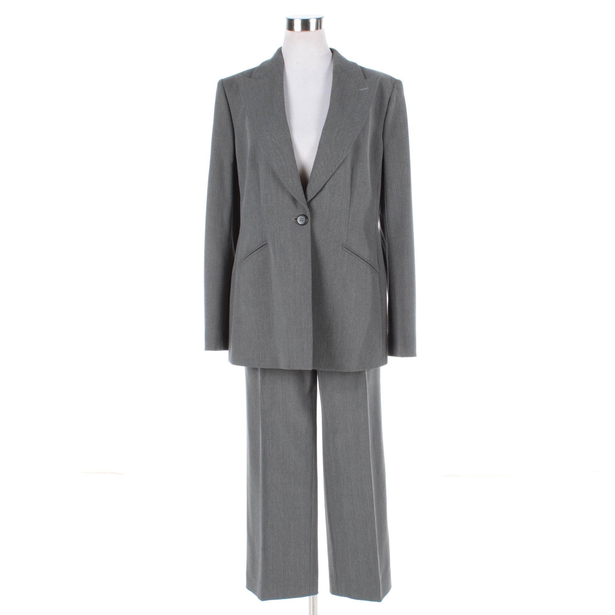 Women's Armani Collezioni Gray Wool Blend Herringbone Pantsuit