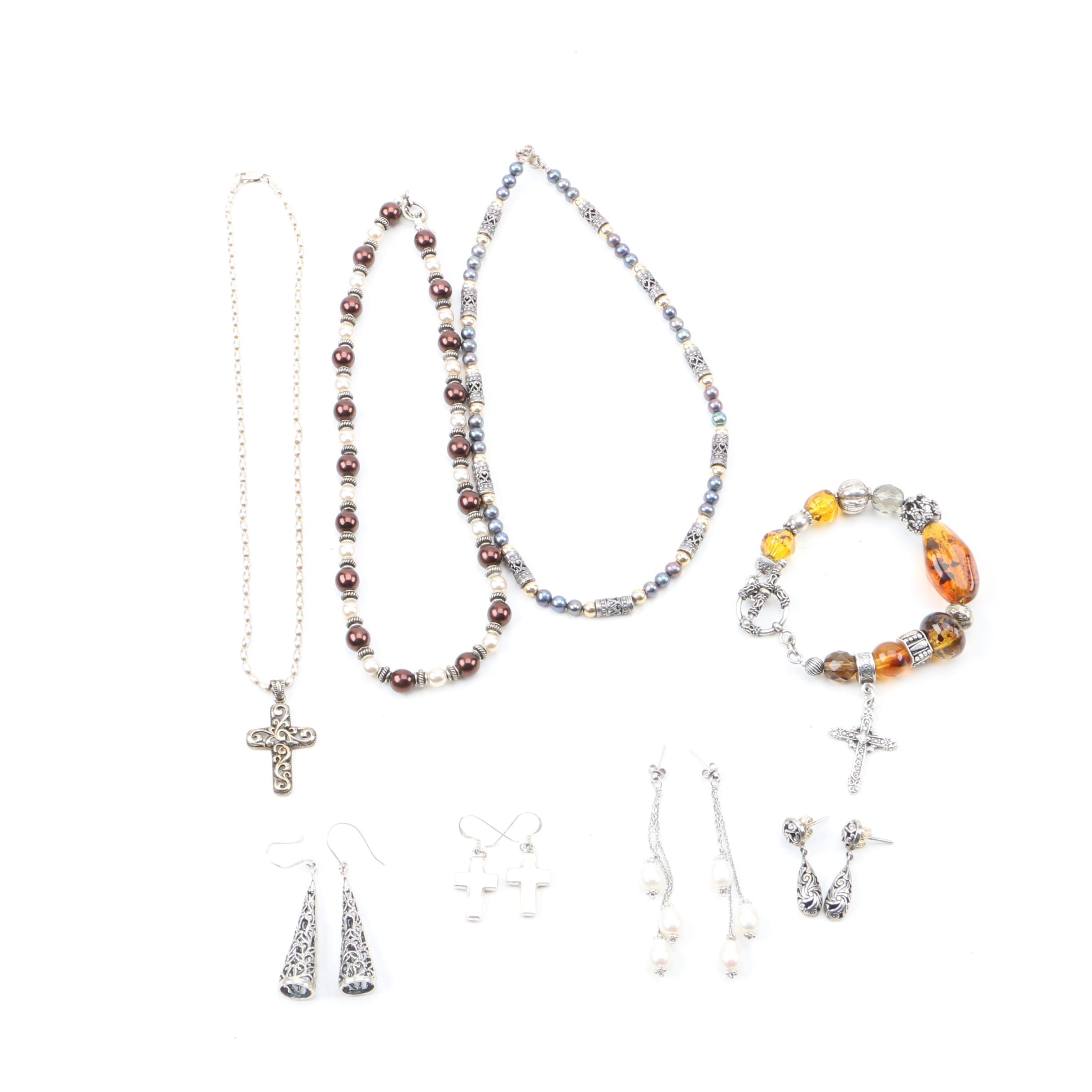 Sterling Silver Jewerly Including Bali Style Bead Work and Imitation Amber