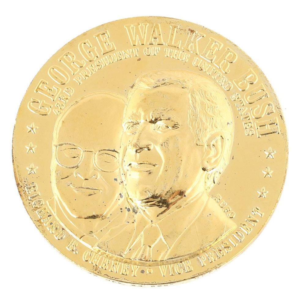 4.25 Ounces .999 Silver 24K Gold Wash George W. Bush Commemorative Medallion