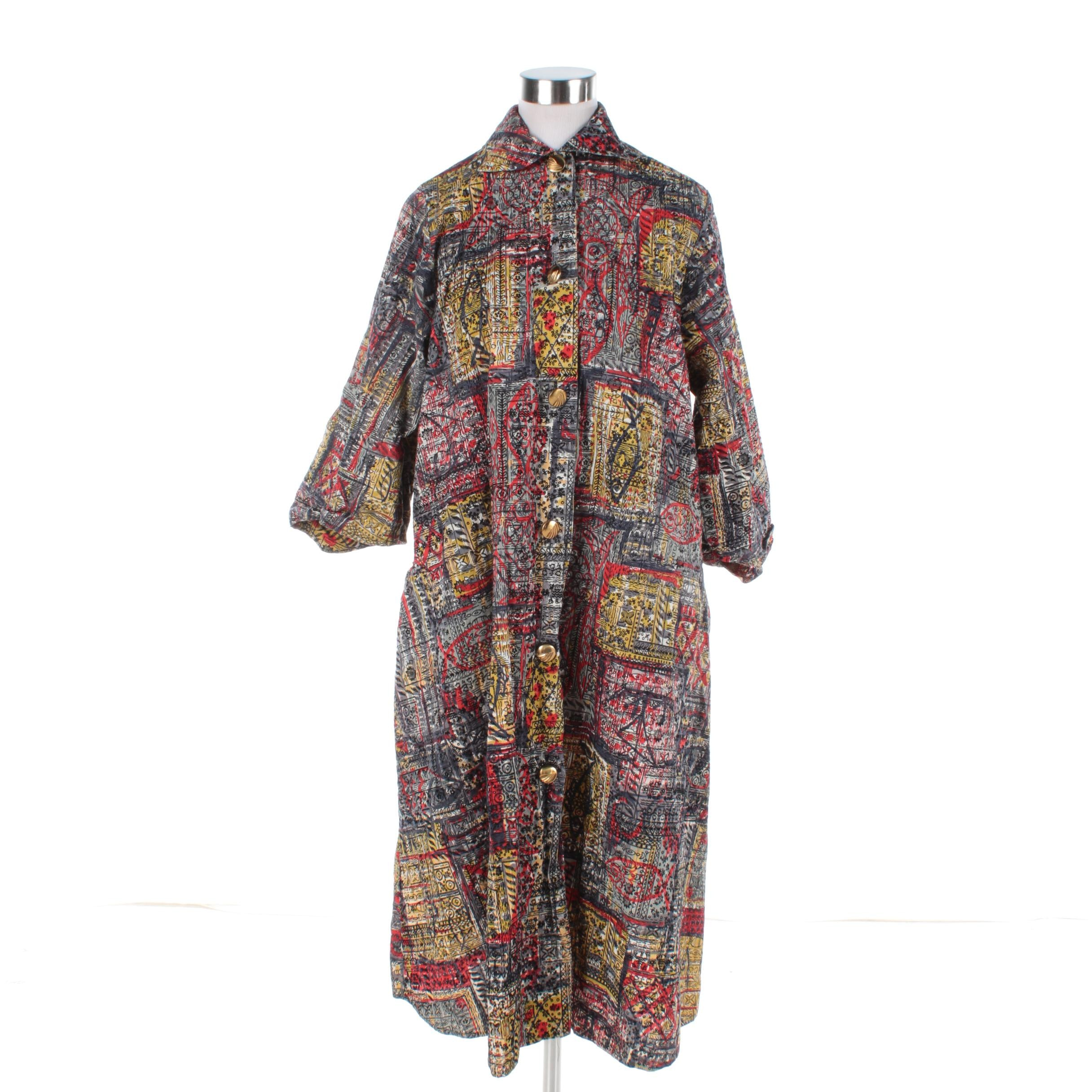 Women's Vintage Styled by Loungees Fish Novelty Print Shirt Dress