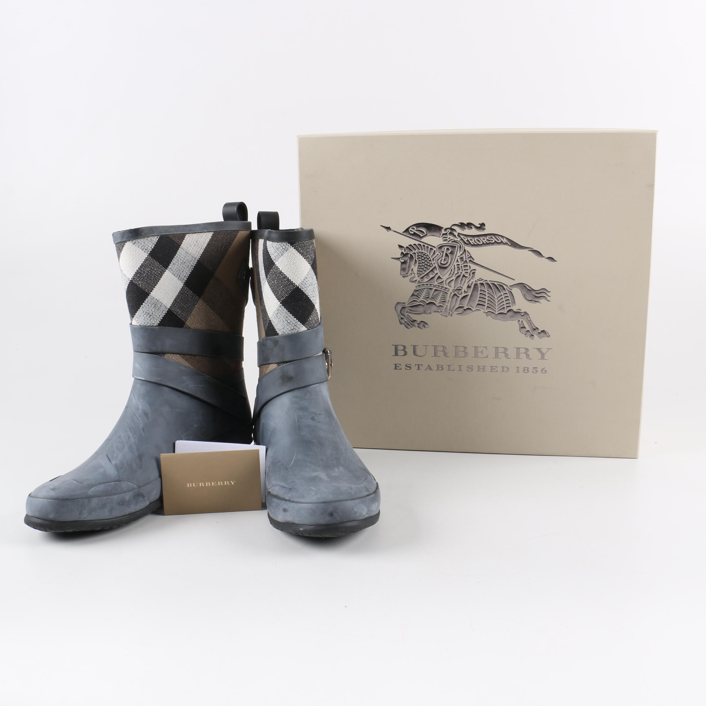 Women's Burberry Holloway Mid Buckle Canvas Check Rubber Boots