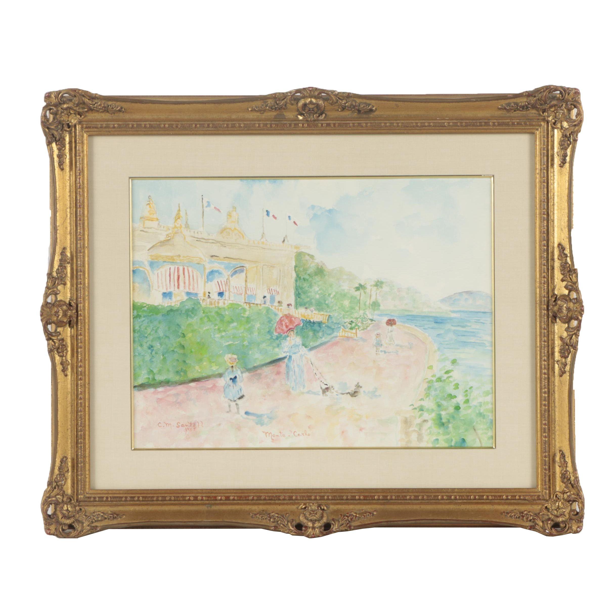 "1987 Carol M. Santell Watercolor Painting ""Monte-Carlo"""