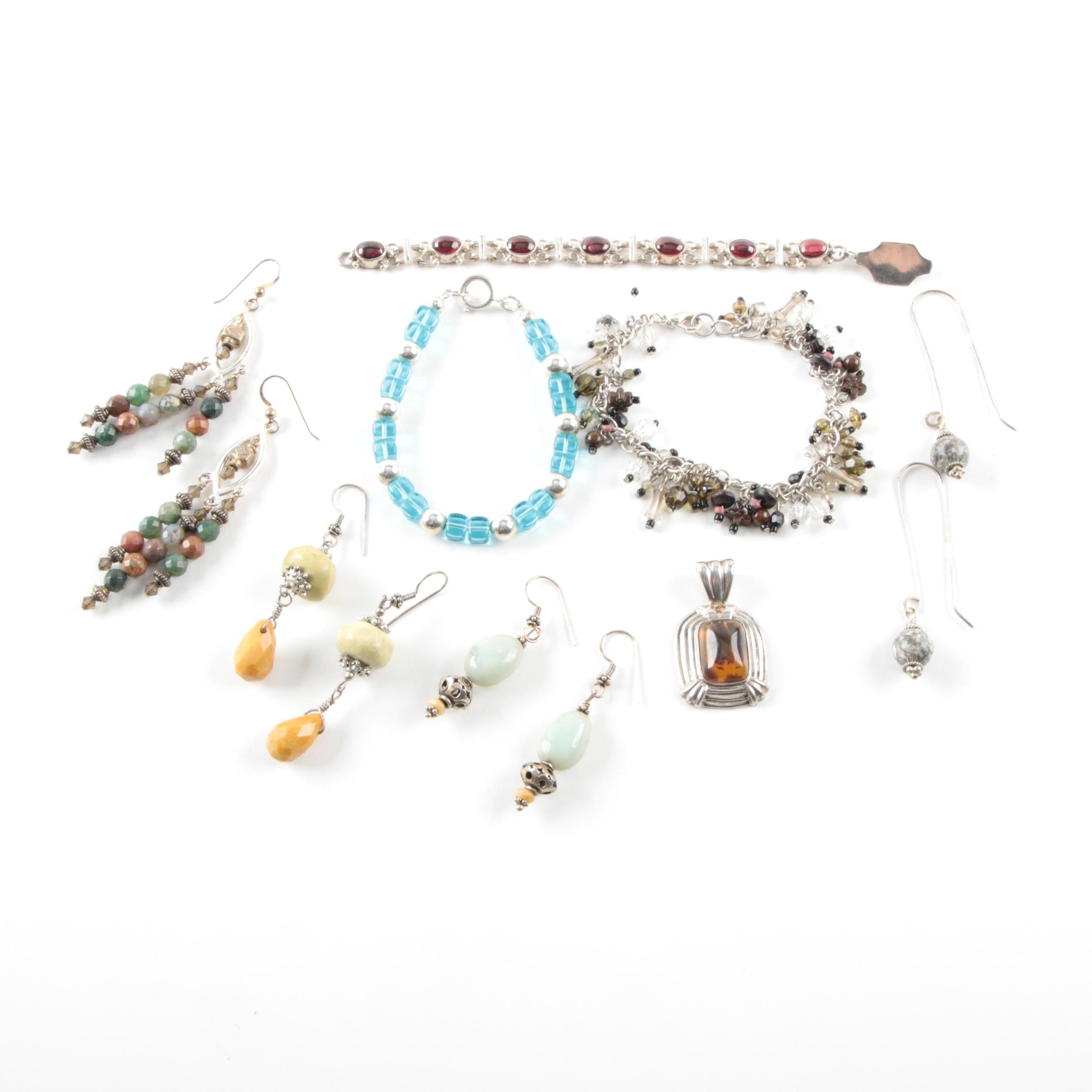 Sterling Silver Jewelry Selection Including Jasper, Agate, and Rhodolite Garnet