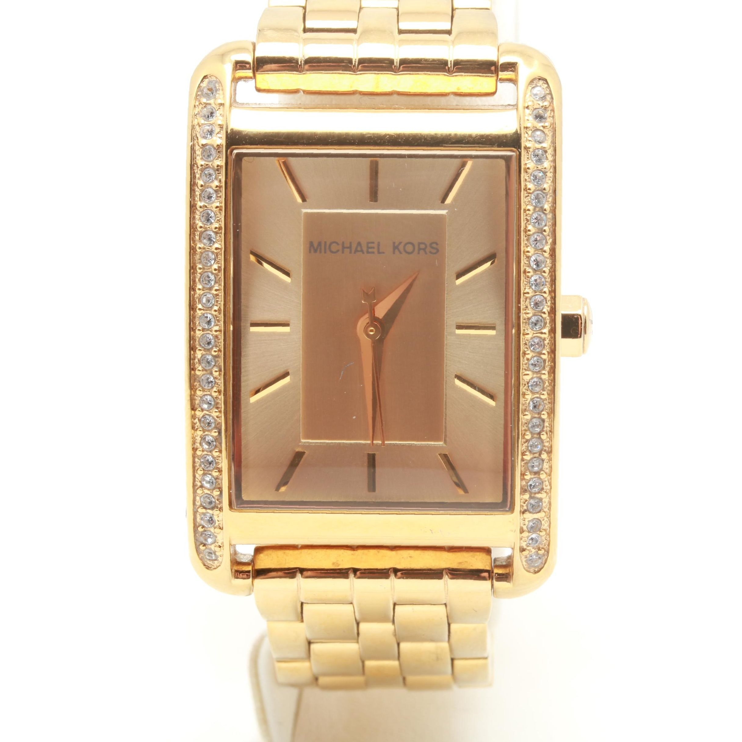 Michael Kors Gold Tone Crystal Accented Wristwatch
