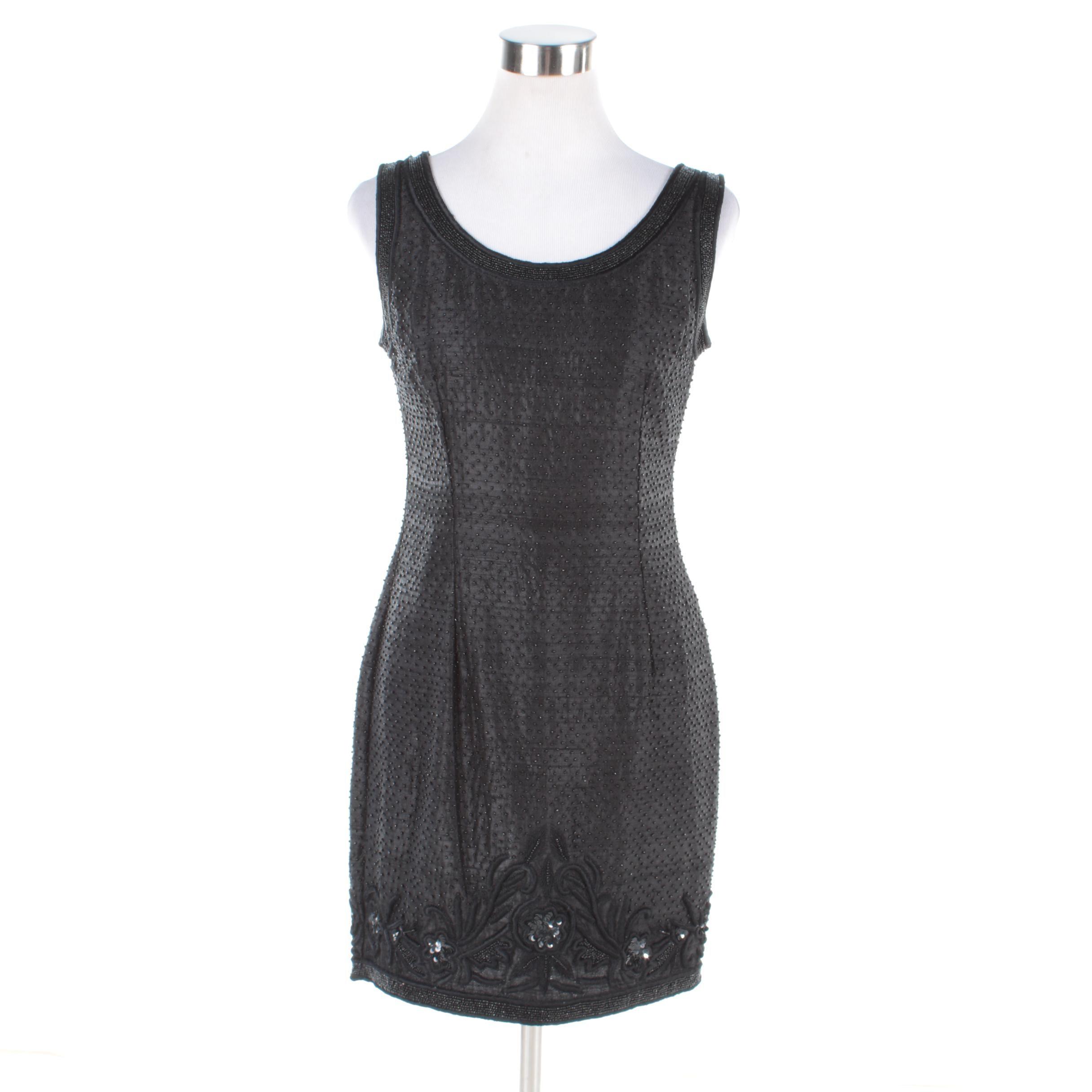 Caroline Rose Embellished Black Sleeveless Cocktail Dress