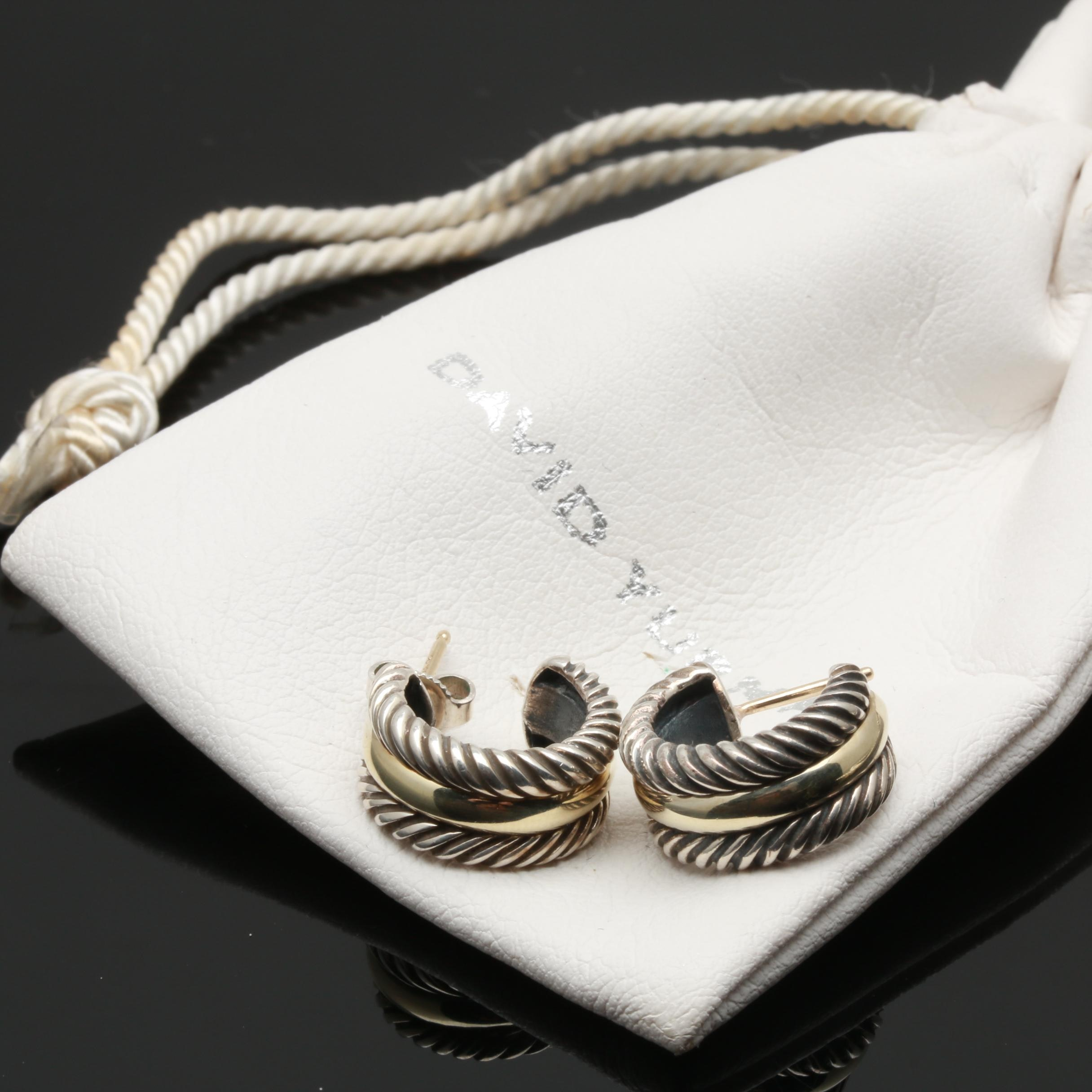 "David Yurman ""Cable Collections"" Sterling Silver and 14K Yellow Gold Earrings"