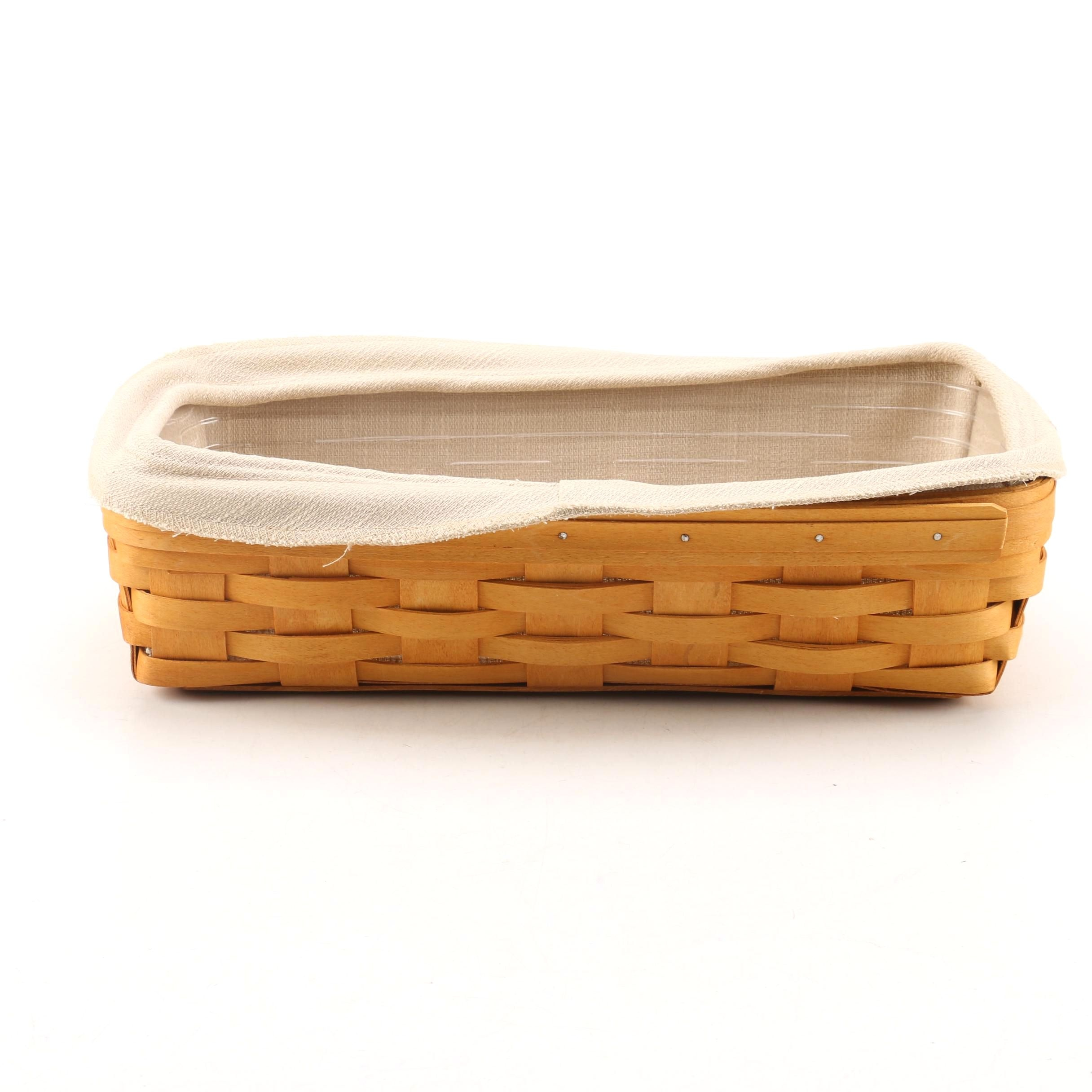 Longaberger Handwoven Reed Basket with Fabric Liner