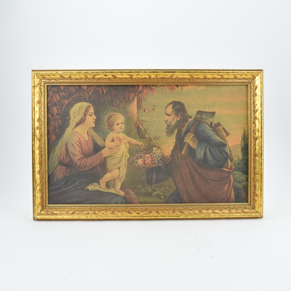 """Lithographic Reproduction of Josef Untersberger's """"The Holy Family"""""""