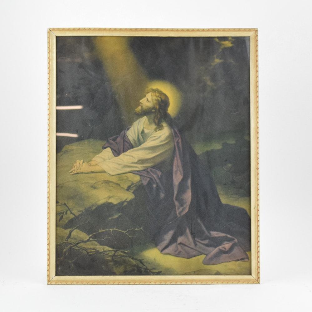 "Chromolithograph After Heinrich Hofmann ""Christ in Gethsemane"""