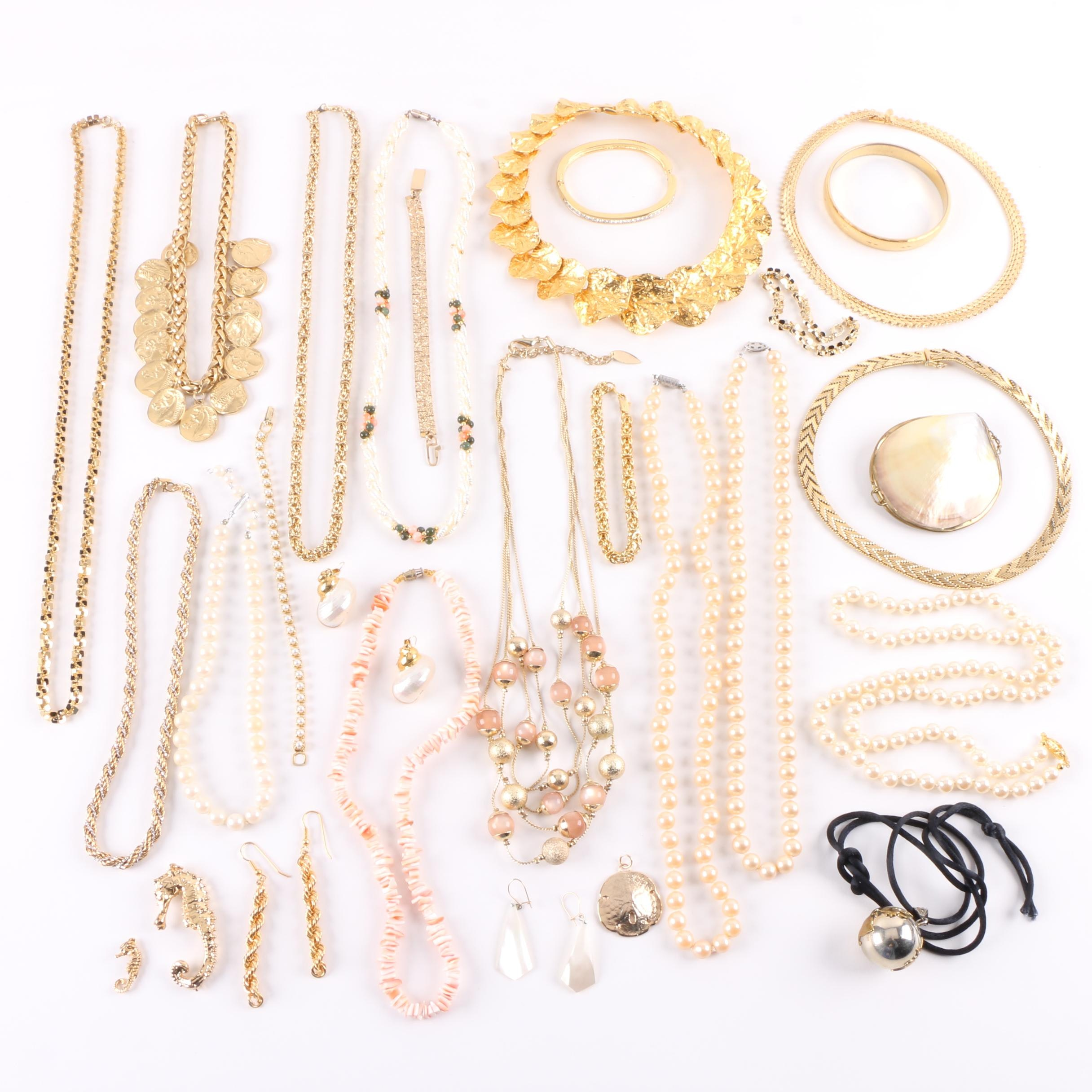 Assortment of Costume Jewelry Including Imitation Pearl and Gemstones
