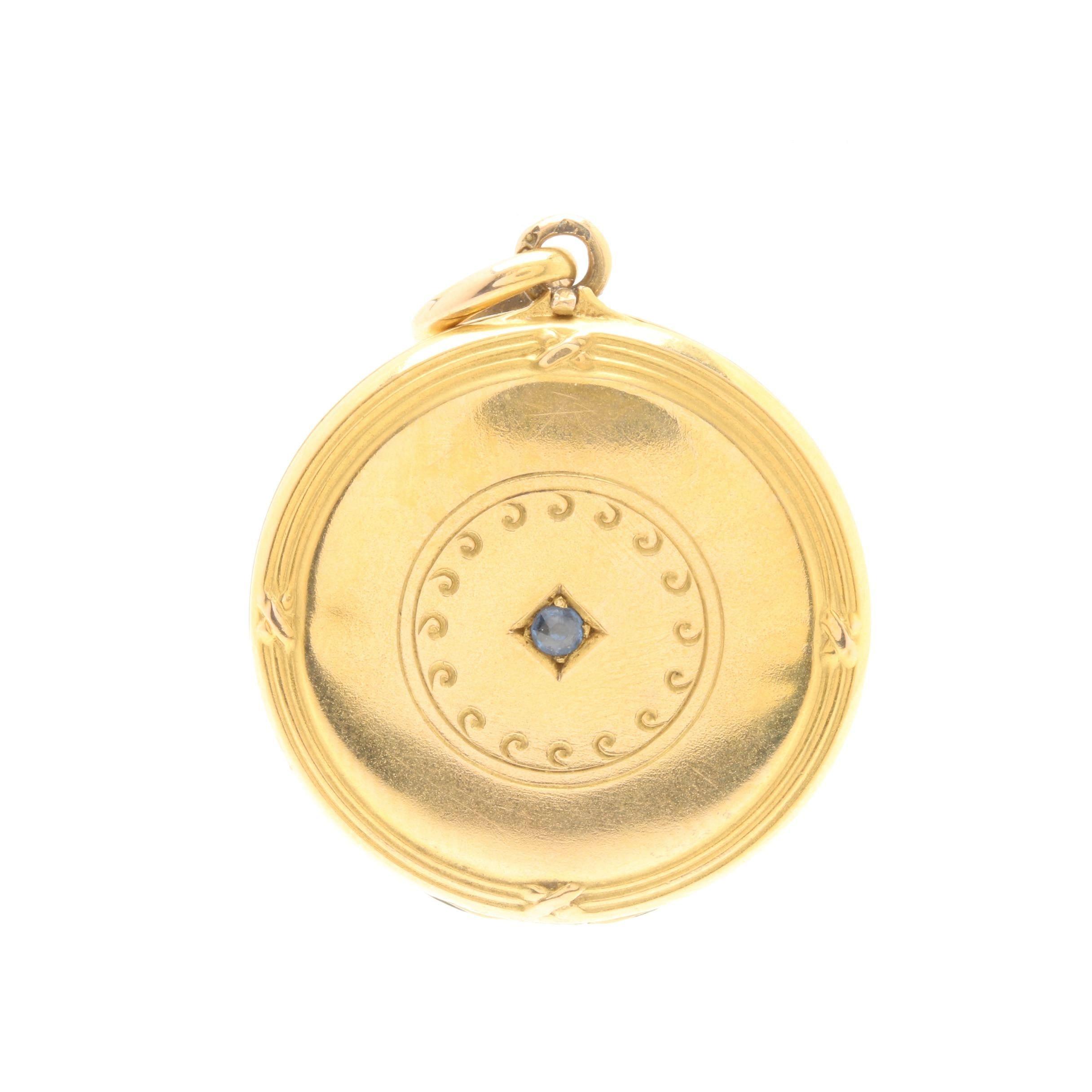 14K Yellow Gold Blue Sapphire Locket Pendant