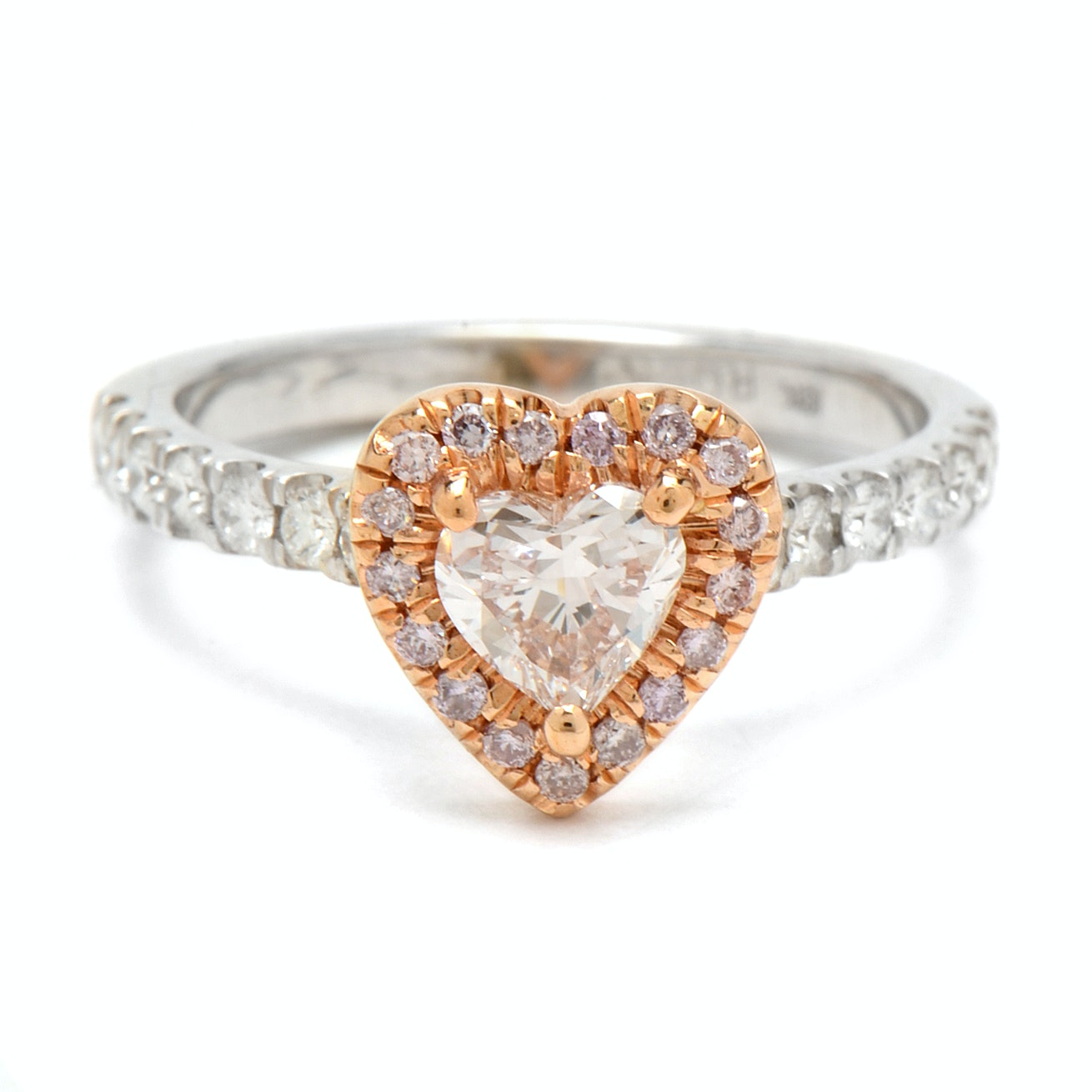 18K White Gold Faint Pink Heart-Cut Diamond Engagement Ring With GIA Report