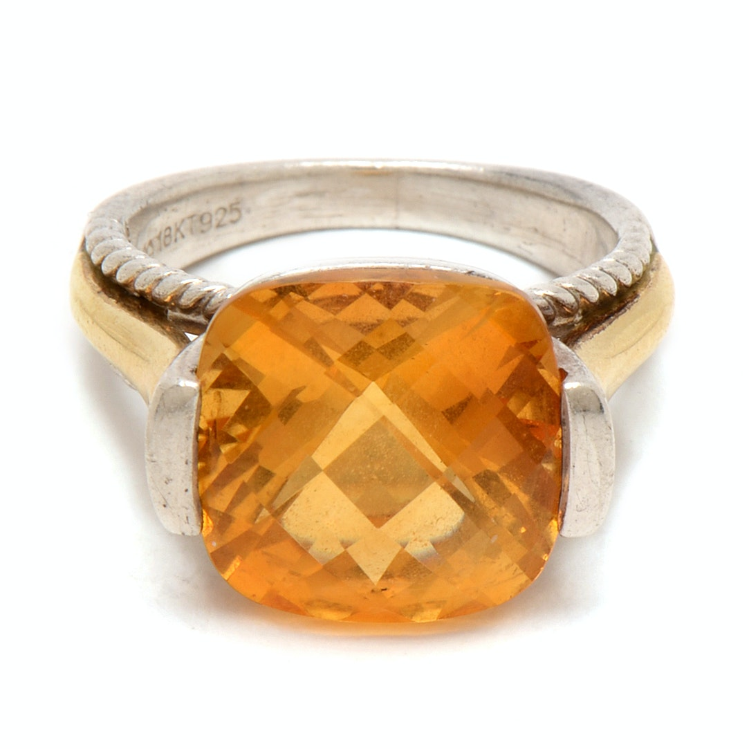 Sterling Silver with 18K Yellow Gold Citrine Cocktail Ring