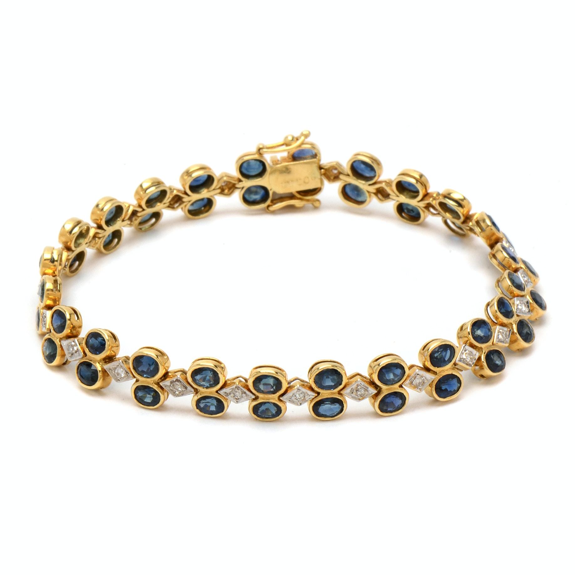18K Yellow Gold Blue Sapphire and Diamond Linked Bracelet