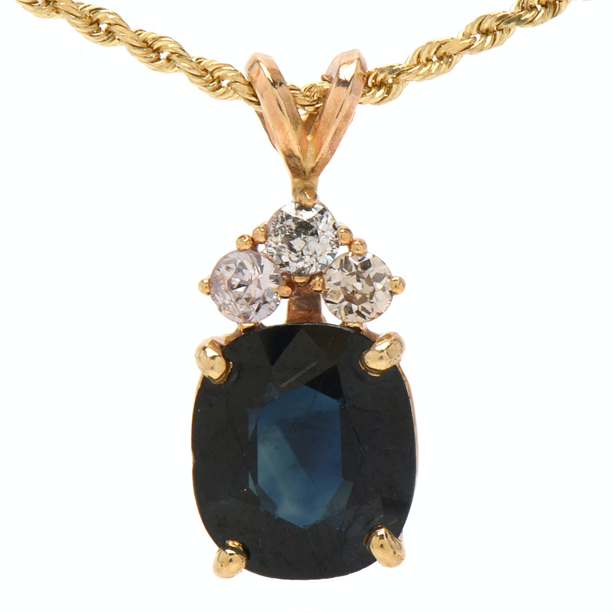 14K Yellow Gold 4.01 Carat Blue Sapphire and Diamond Pendant Necklace
