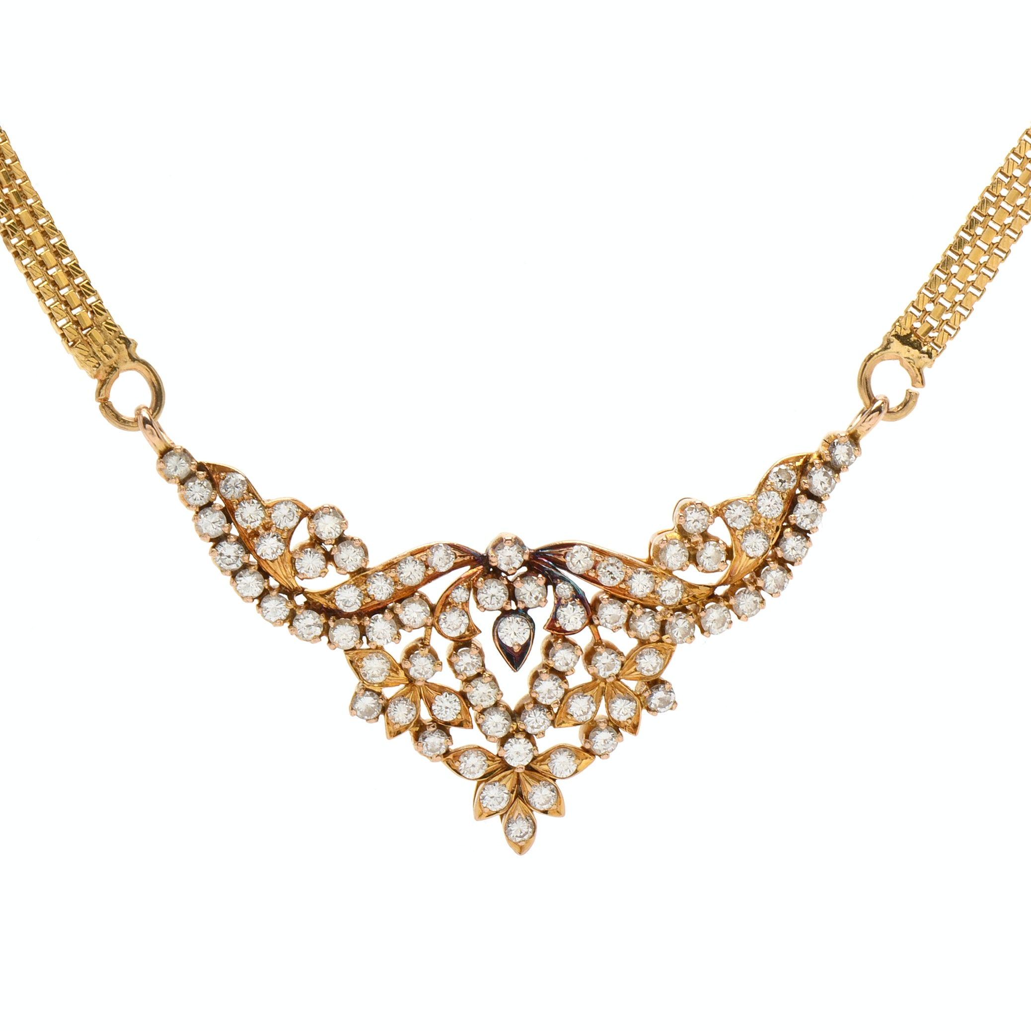 14K and 18K Yellow Gold 2.00 CTW Diamond Necklace