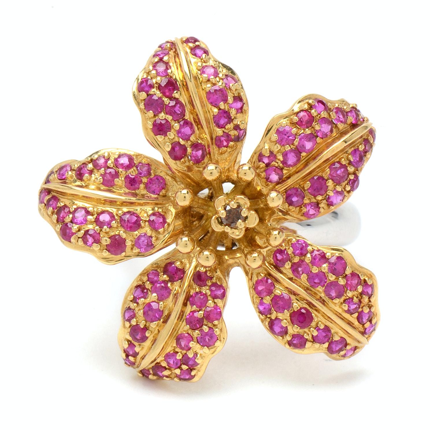 Samuel Benham 18K Yellow and White Gold Diamond and Ruby Lily Ring