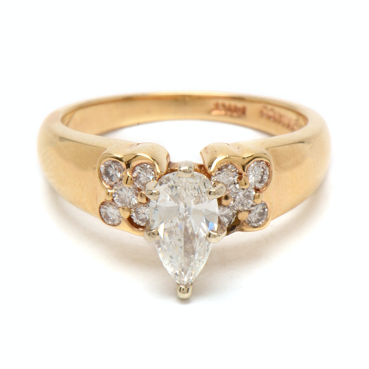 14K Yellow Gold Pear-Cut Diamond Engagement Ring