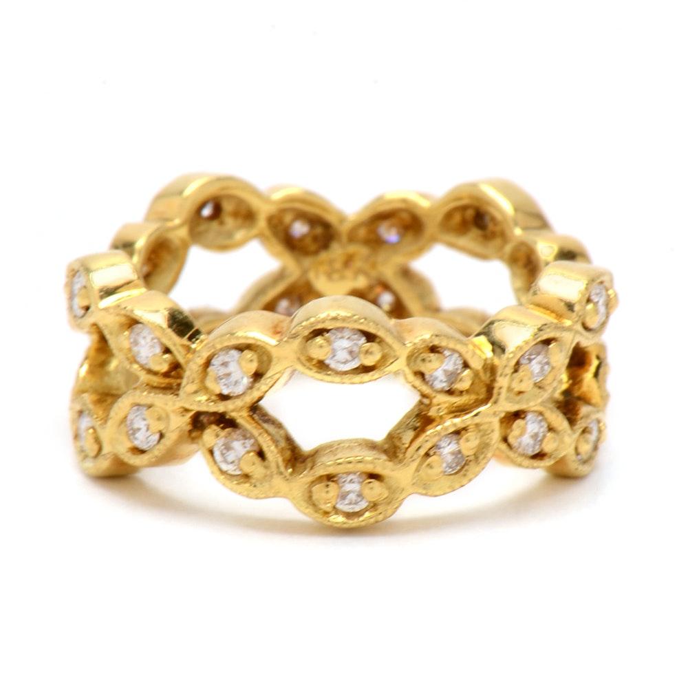 18K Yellow Gold Diamond Eternity Band Ring