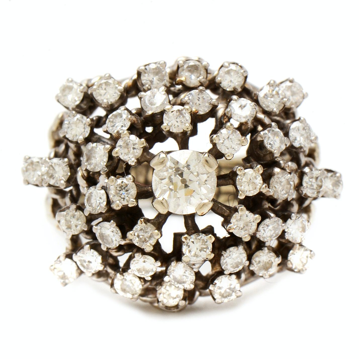 14K White Gold 2.56 CTW Diamond Bombé Style Ring