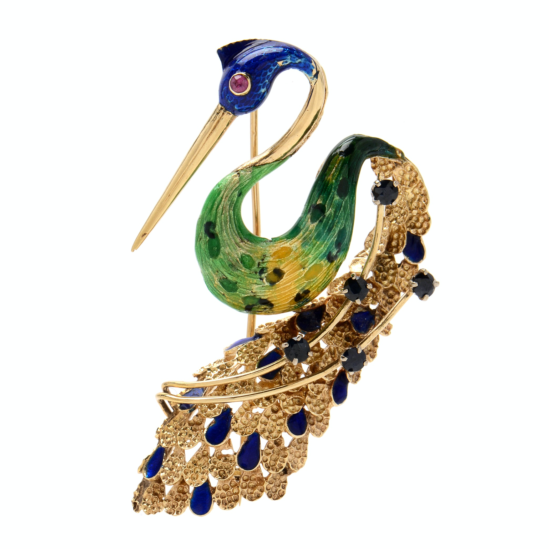 14K Yellow Gold Blue Sapphire, Ruby and Enamel Peacock Brooch