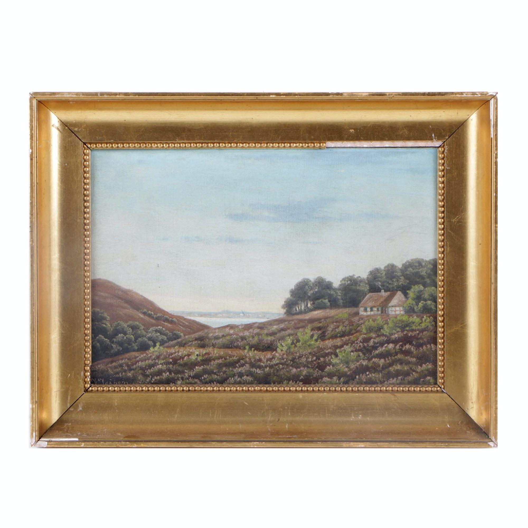 Jessen Mid Century Oil Painting of Scandinavian Coastal Landscape
