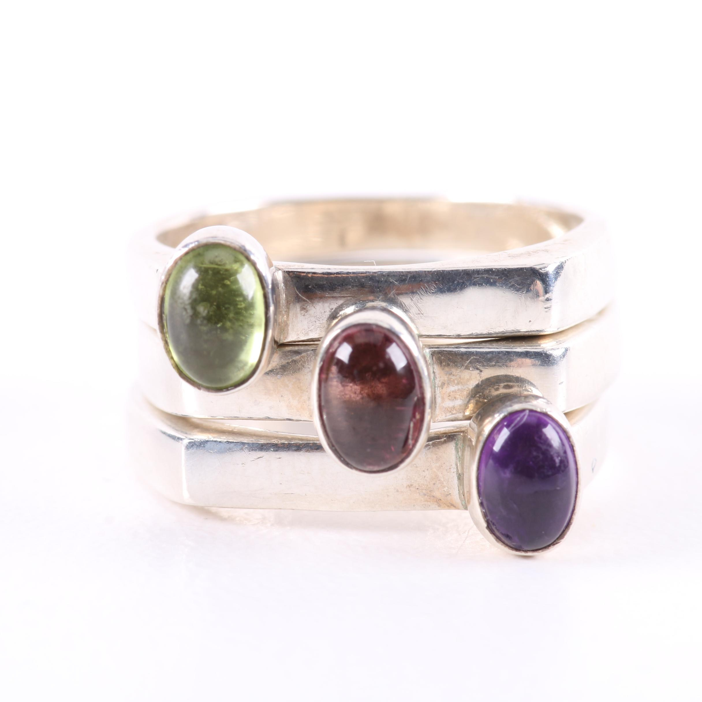Sterling Silver Stacking Ring Selection Including Peridot and Amethyst