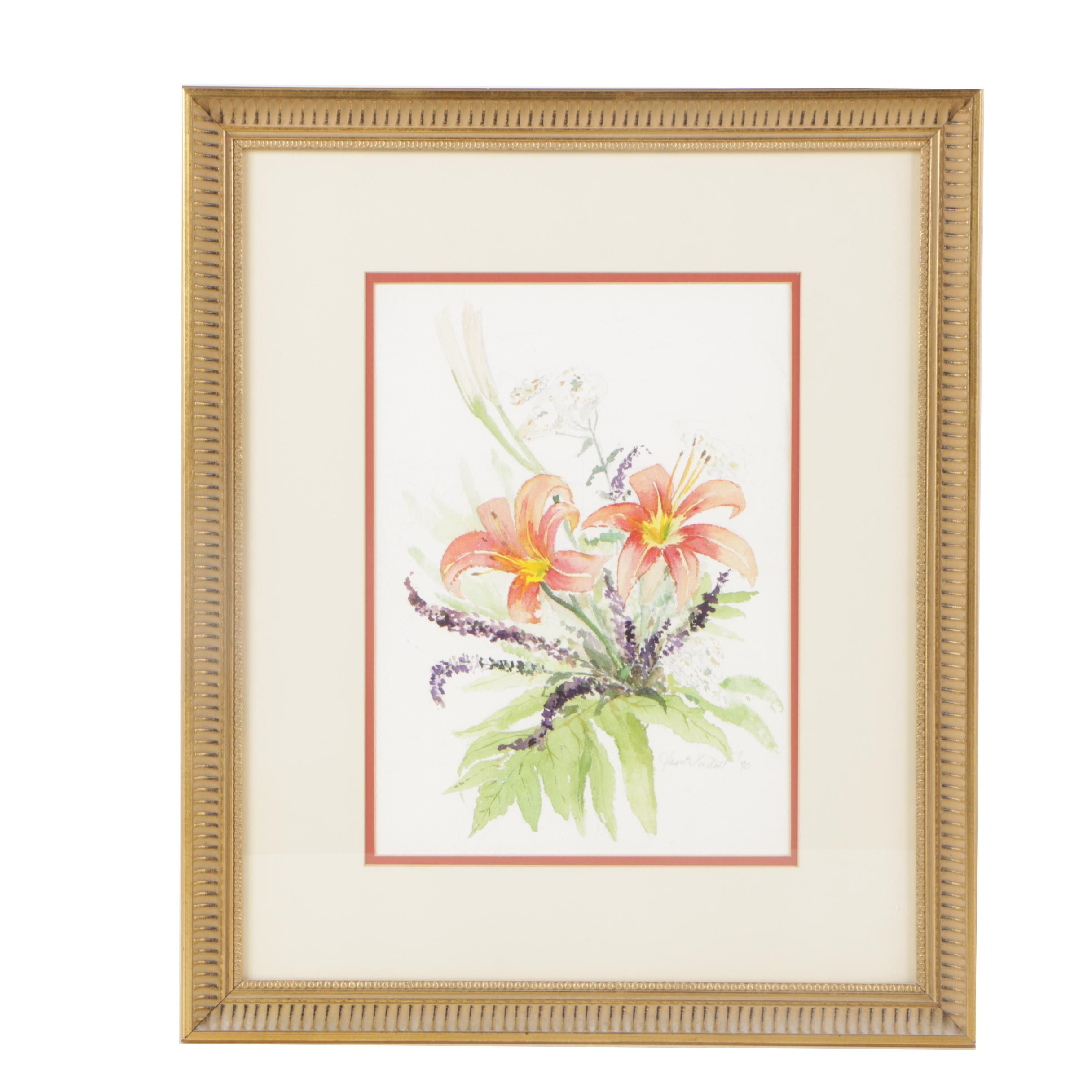 Janet Lindall 1990 Watercolor Painting of Tiger Lilies and Lavender