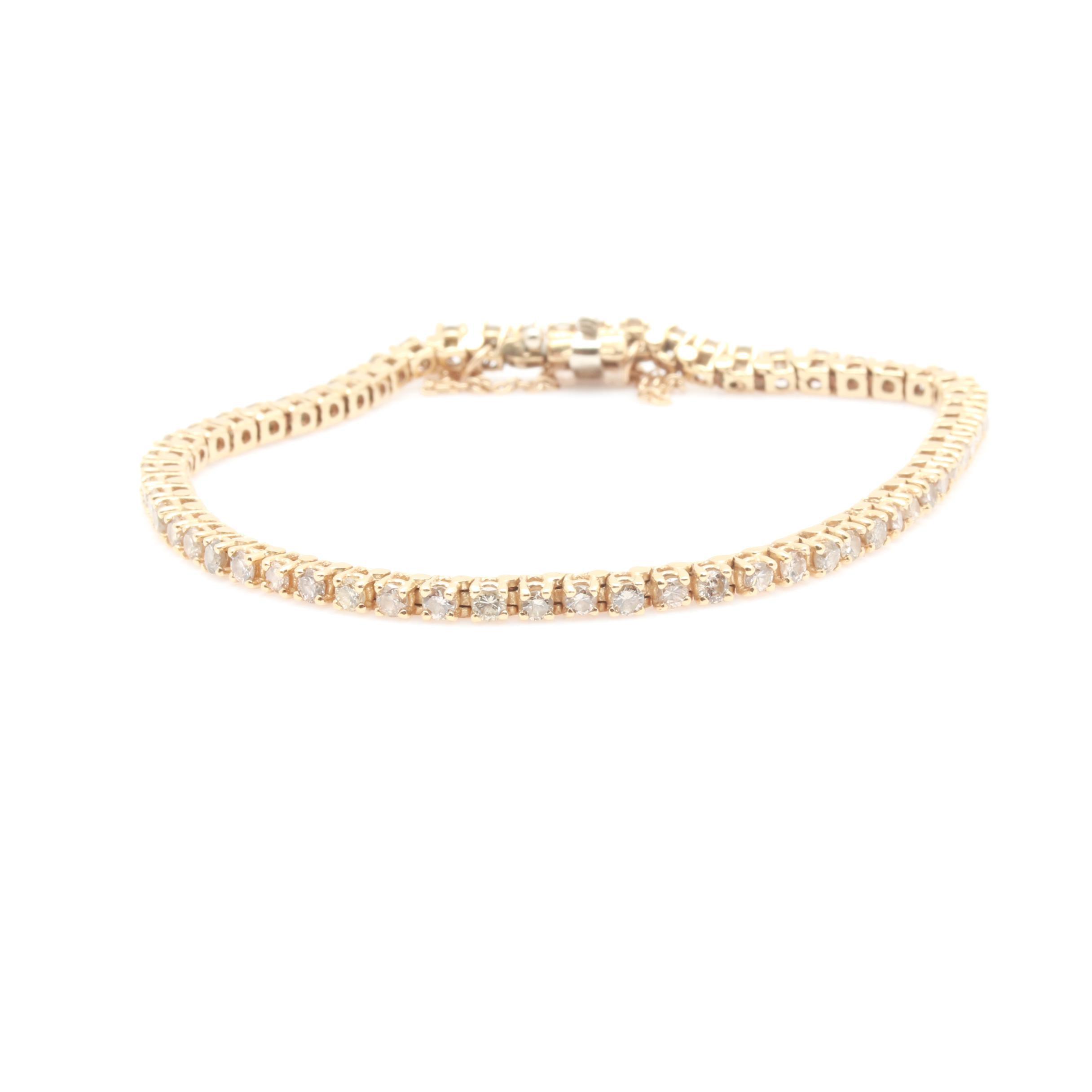 14K Yellow Gold 3.50 CTW Diamond Tennis Bracelet