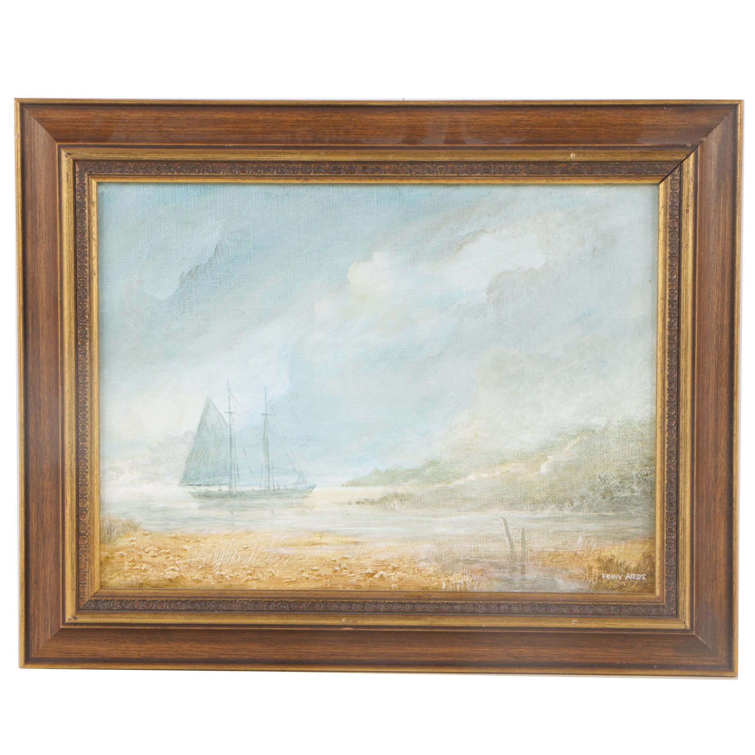 Frank Akers Mid Century Oil Painting of Maritime Landscape