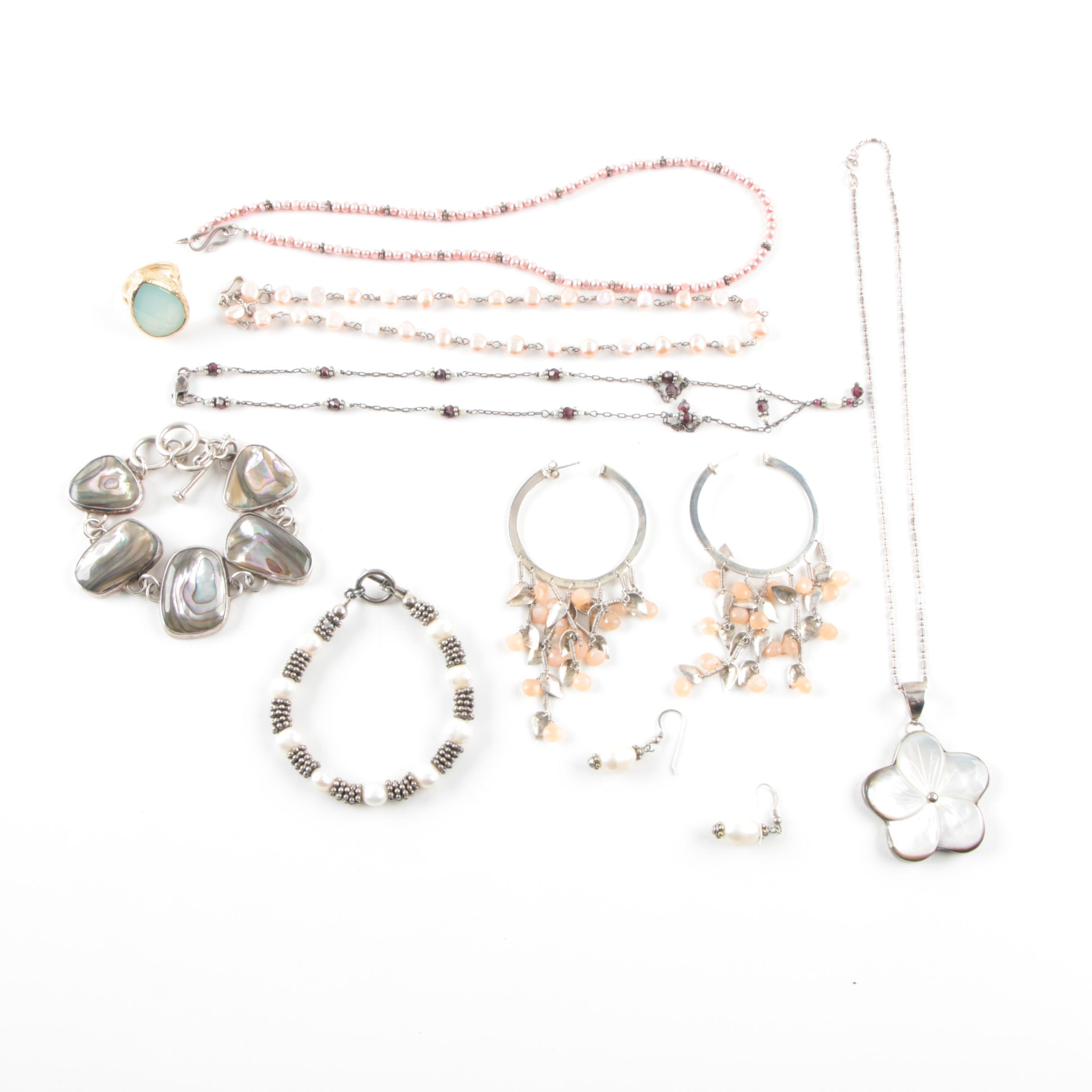 Sterling Silver and Gemstone Jewelry Including Abalone