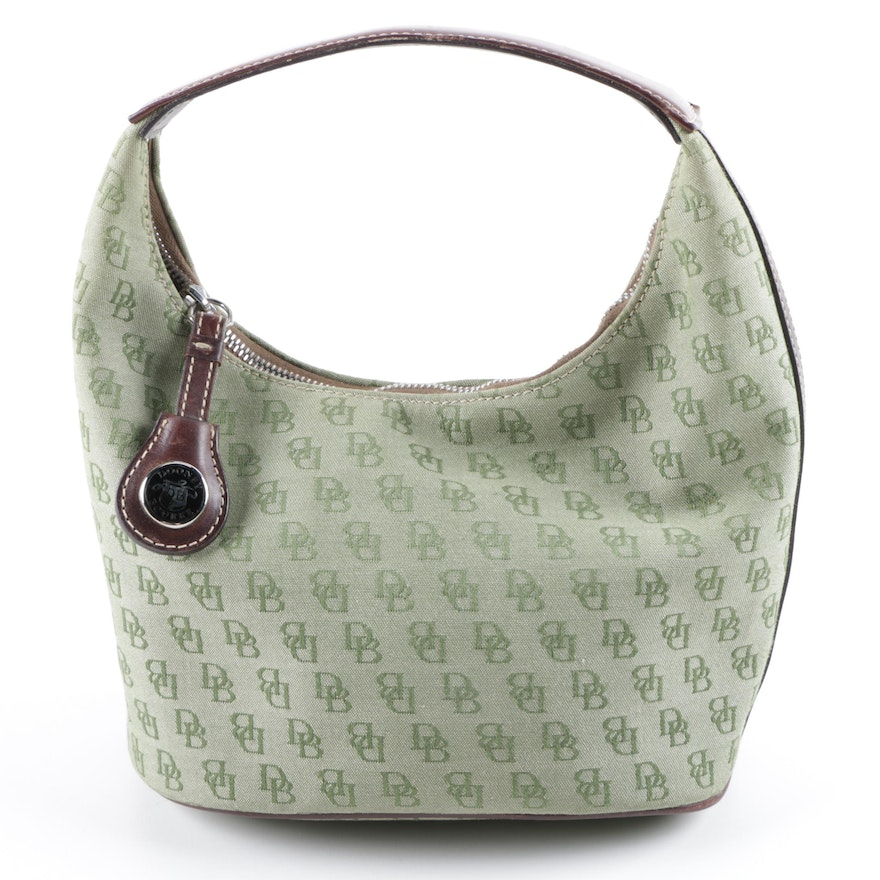 Dooney Bourke Green Db Signature Canvas And Leather Hobo Bag