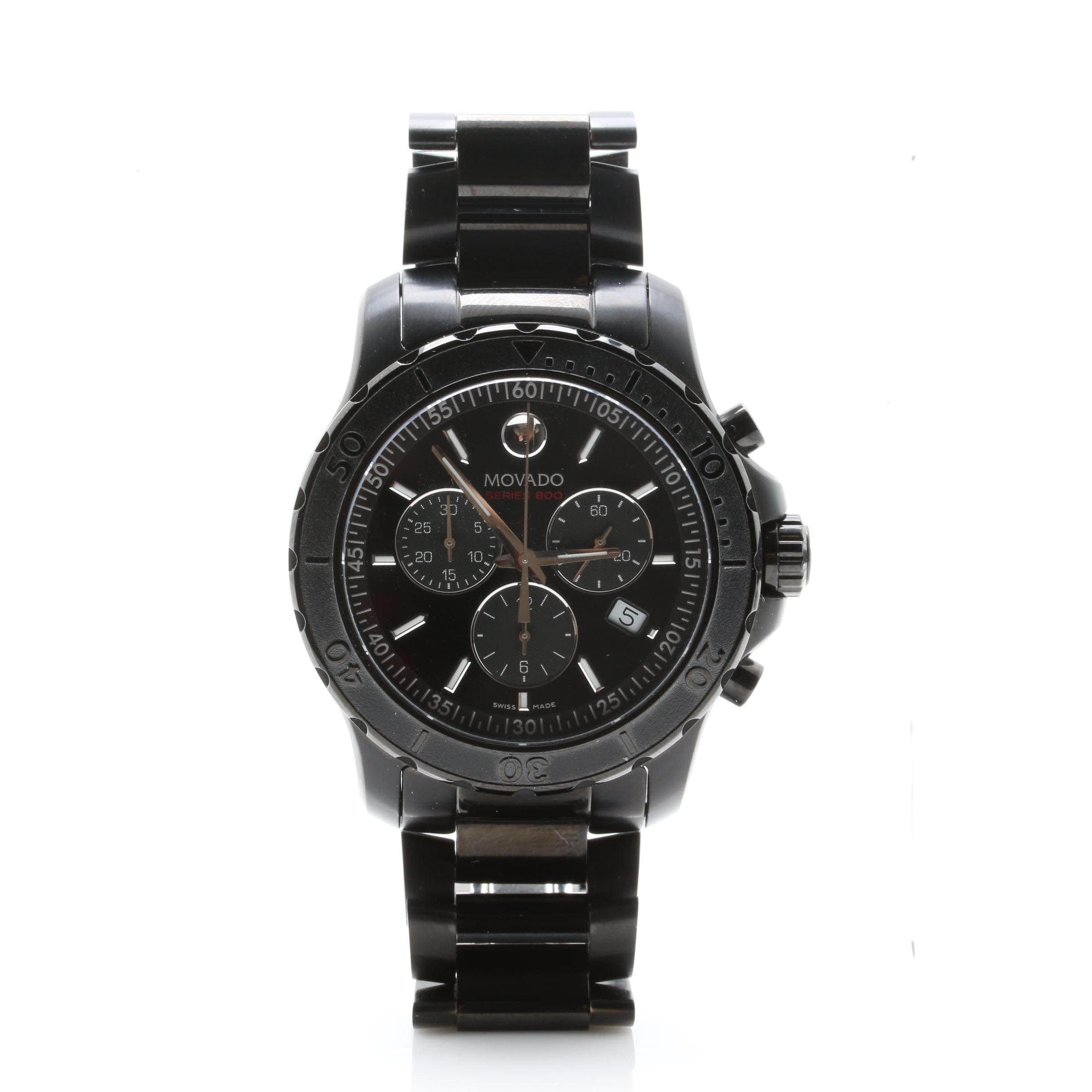 Movado Series 800 Black Chronograph Wristwatch