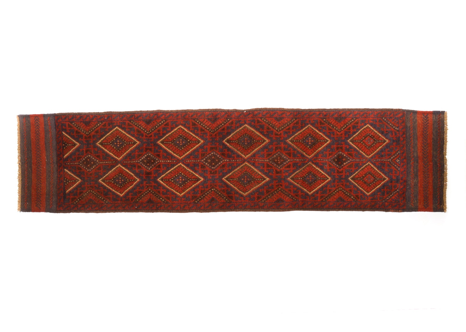 Hand-Knotted and Embroidered Baluch Mashwani Carpet Runner
