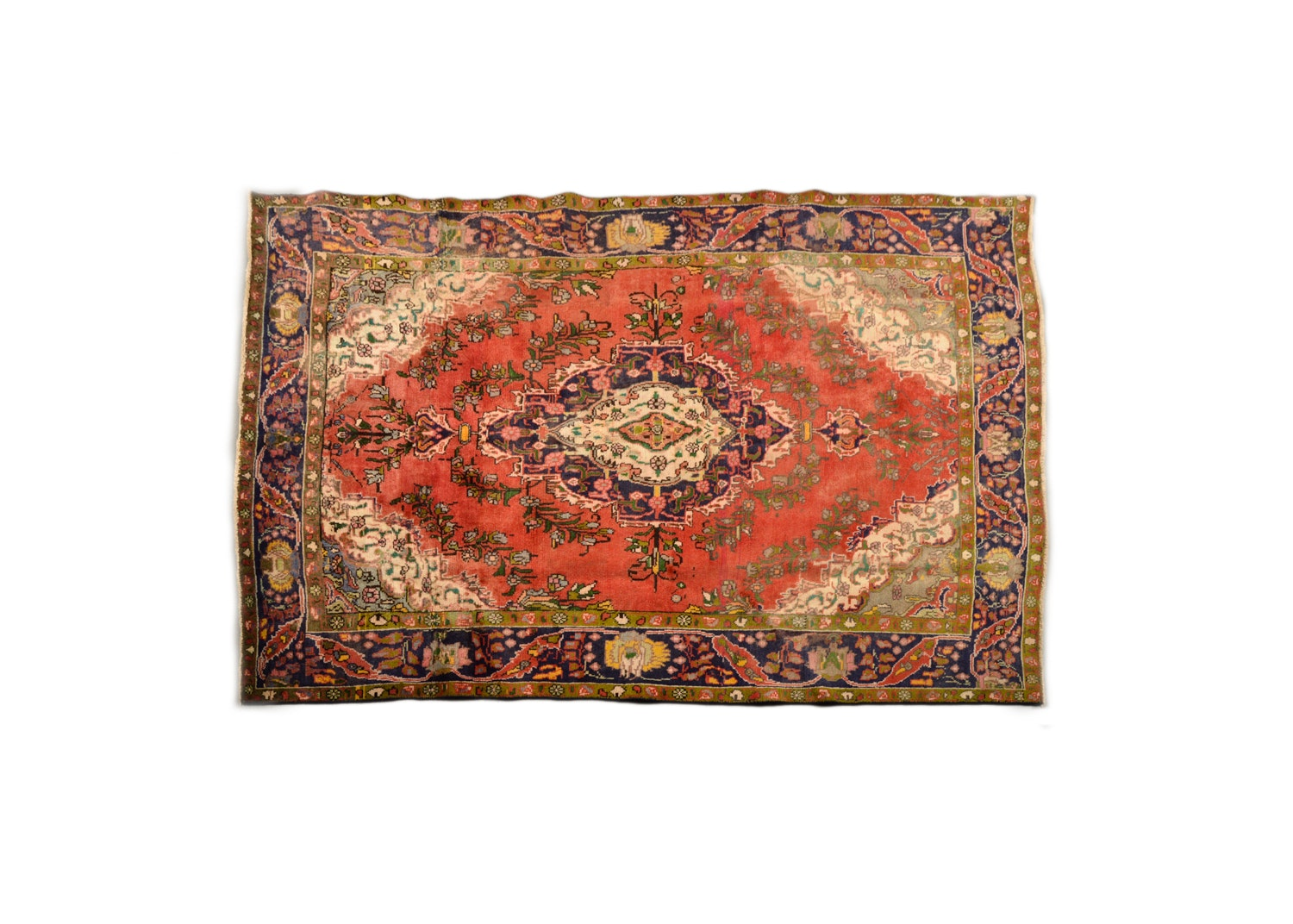 Vintage Hand-Knotted Persian Wool Area Rug