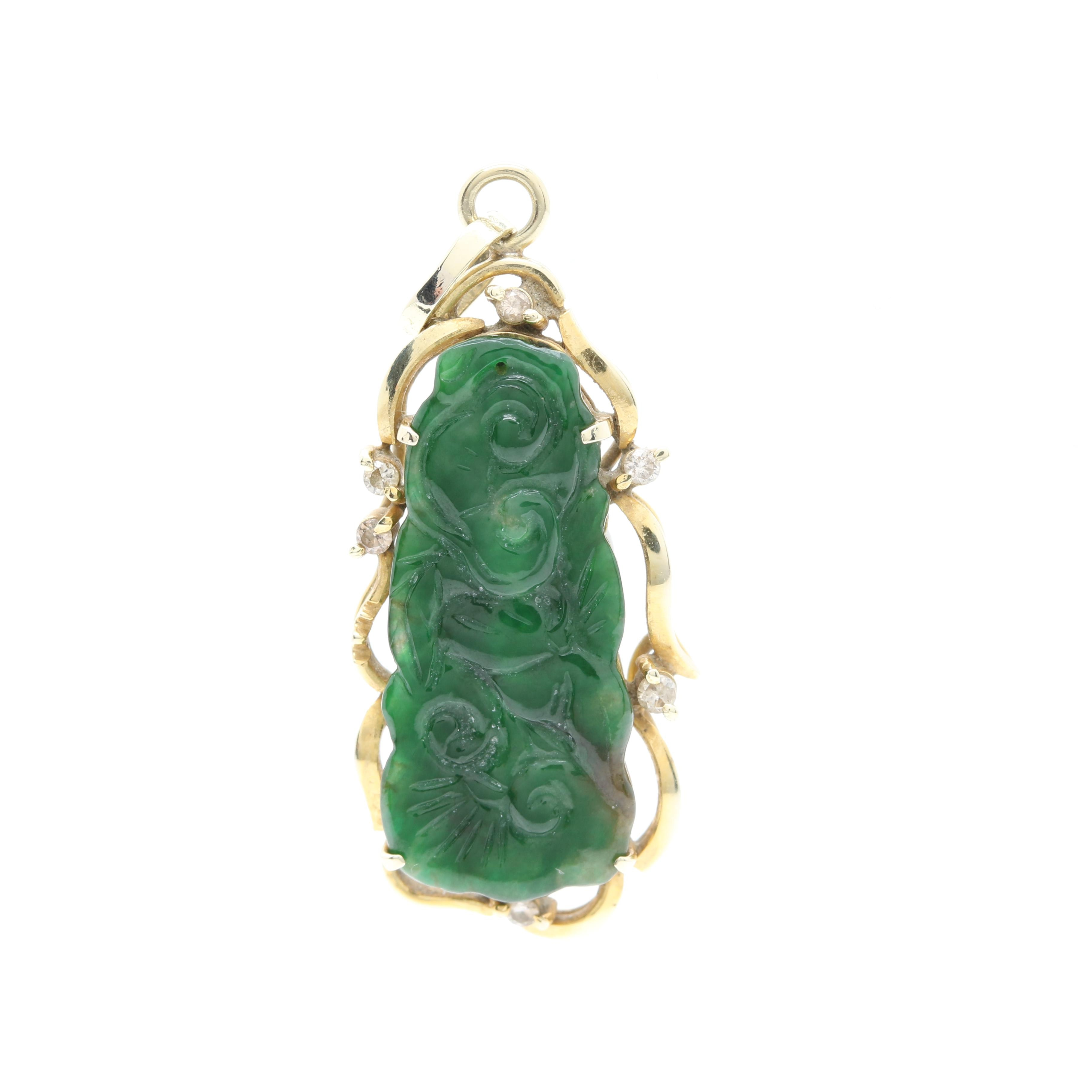 14K Yellow Gold Carved Jadeite and Diamond Pendant