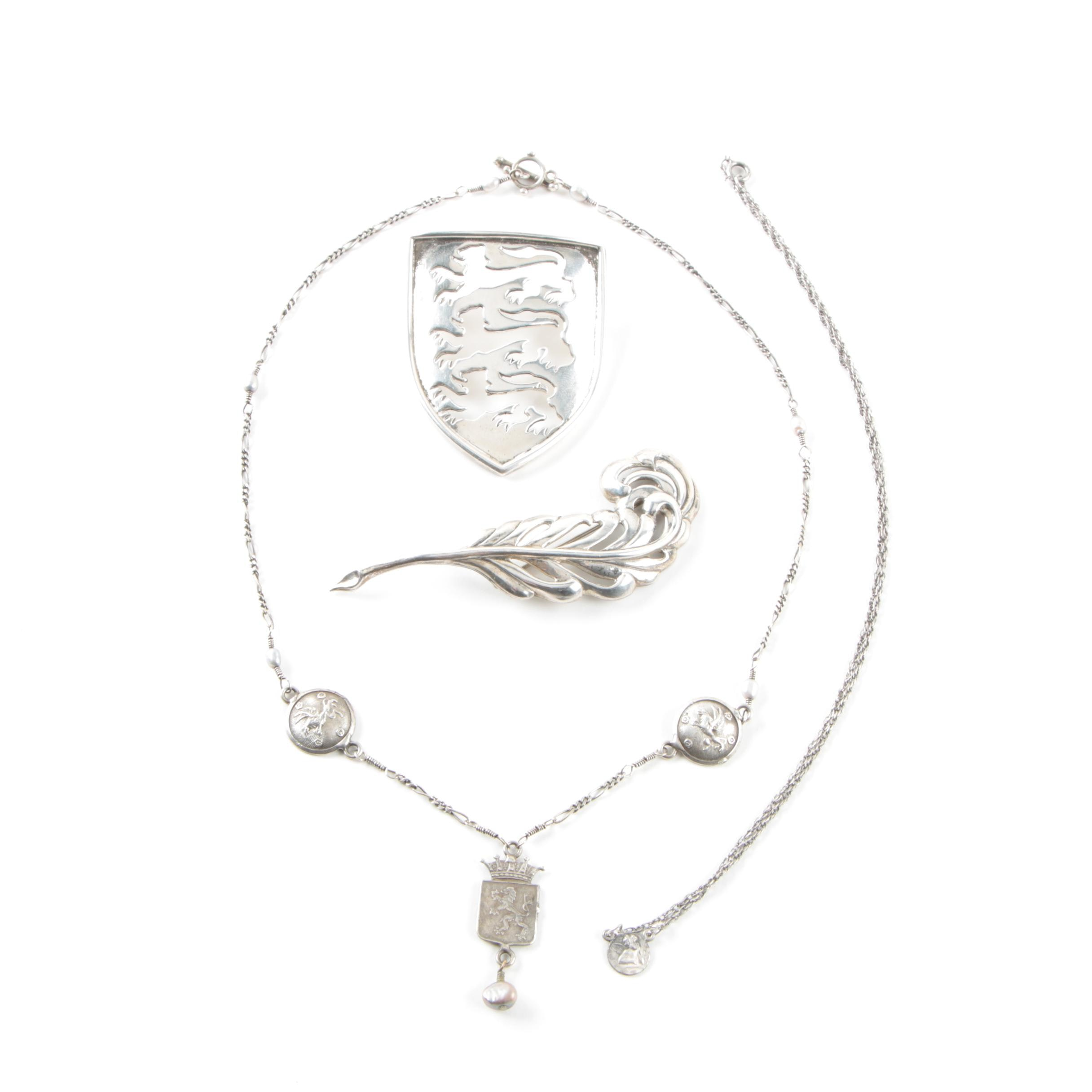 Sterling Silver Necklaces and Brooches Featuring Dyed Cultured Pearl