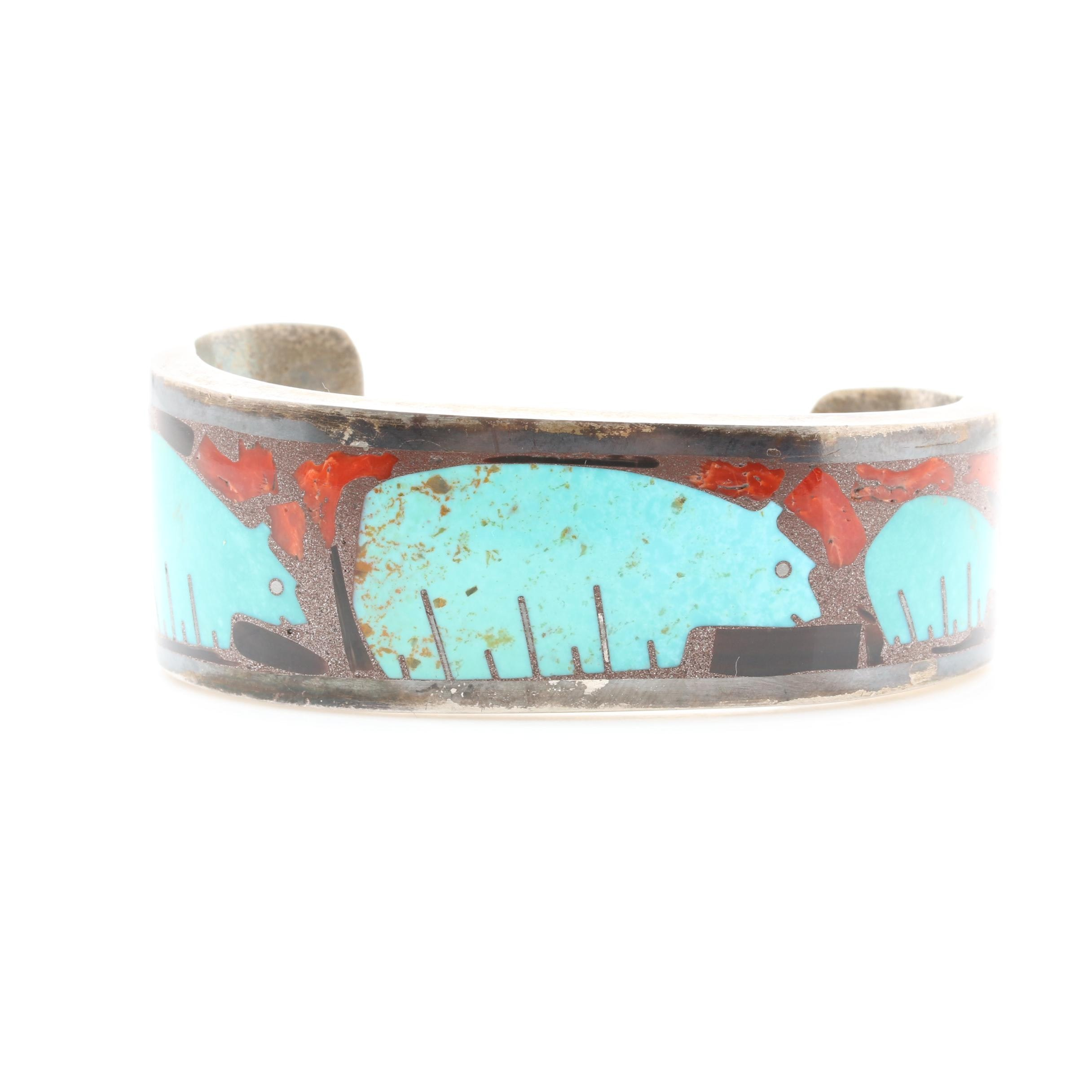 Southwestern Style Sterling Silver Turquoise, Coral, and Shell Inlay Bracelet