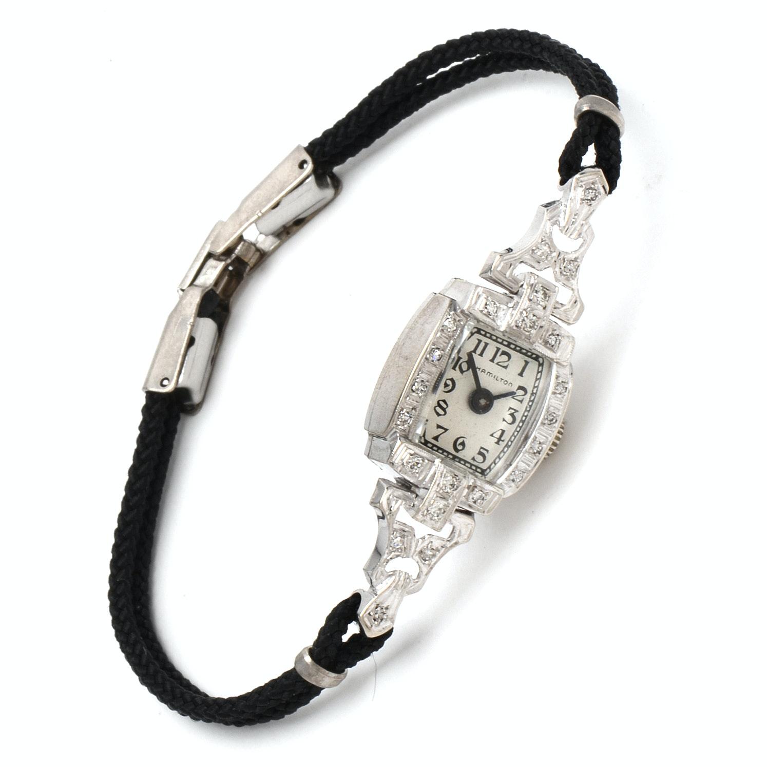 Vintage Hamilton 14K White Gold and Diamond Wristwatch