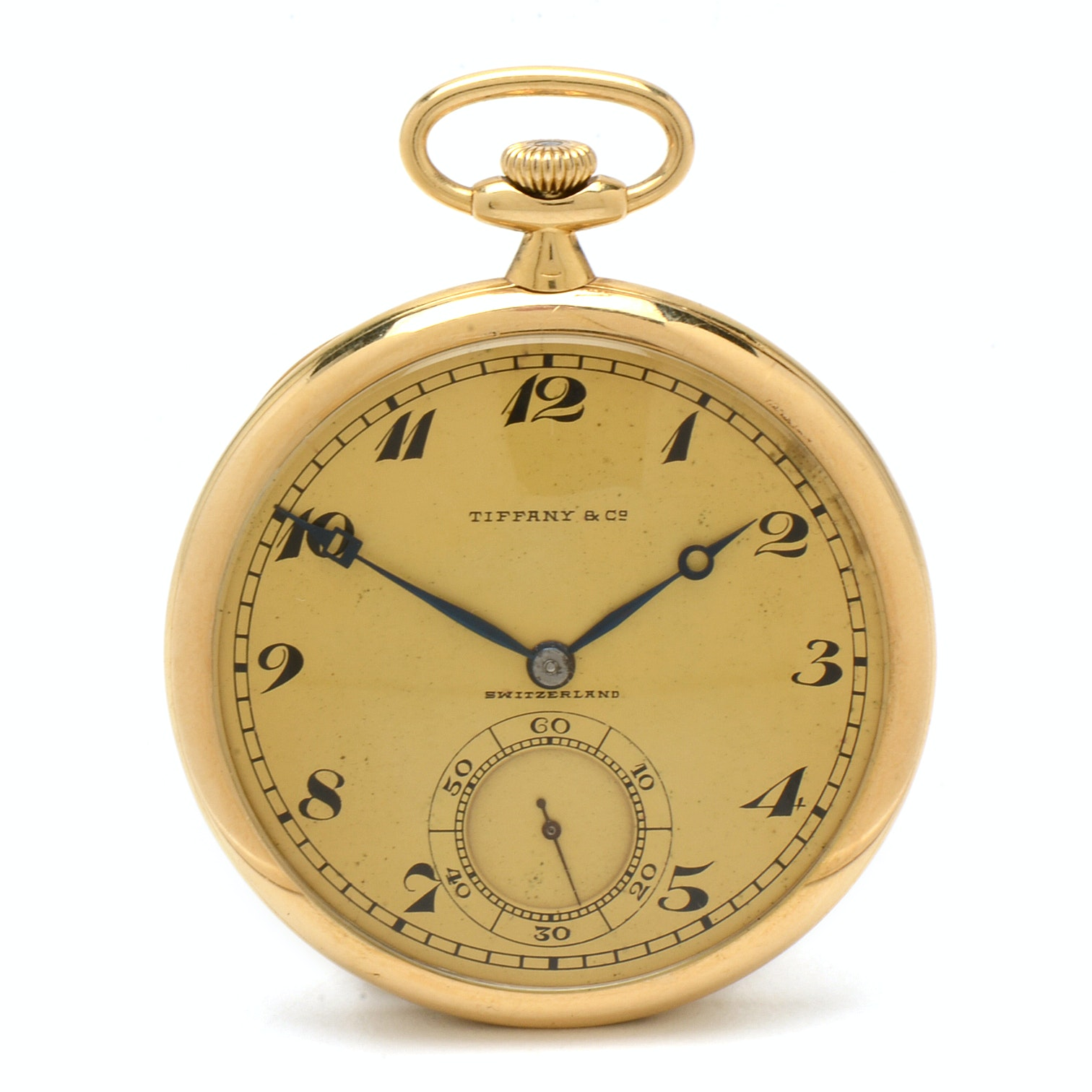 Vintage Tiffany & Co. 18K Yellow Gold Open Face Pocket Watch