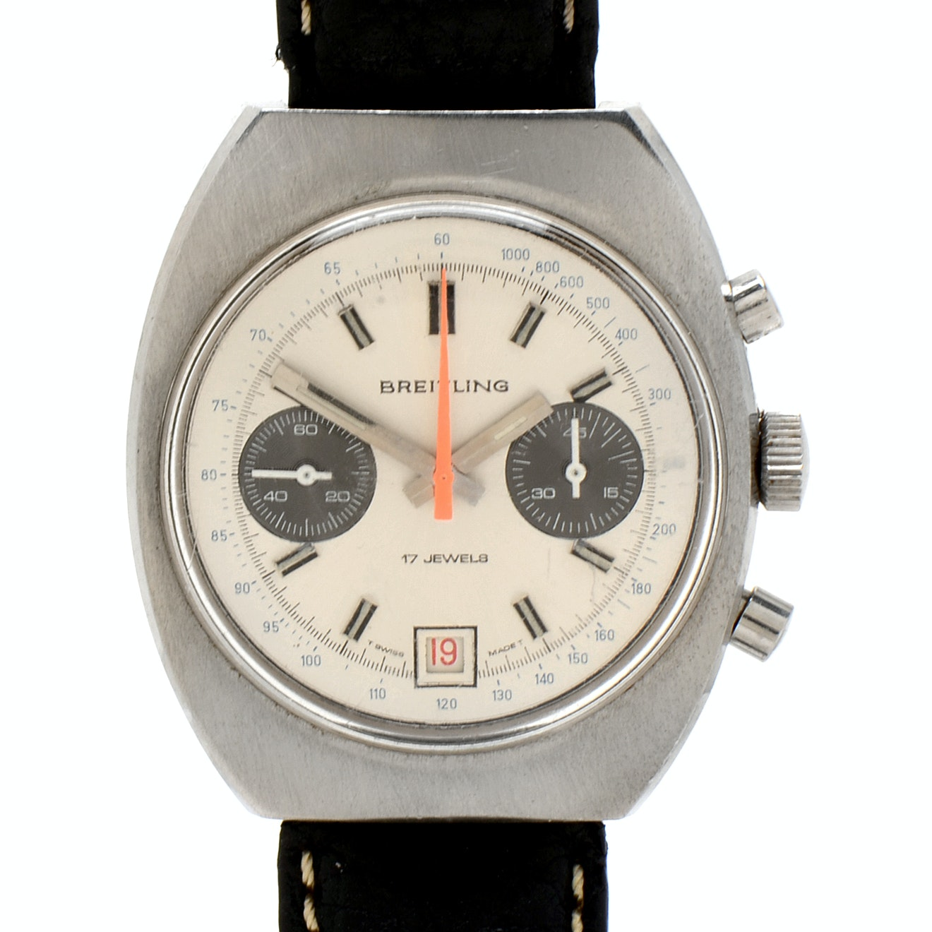 Vintage Breitling Datora Chronograph Automatic Stainless Steel Wristwatch