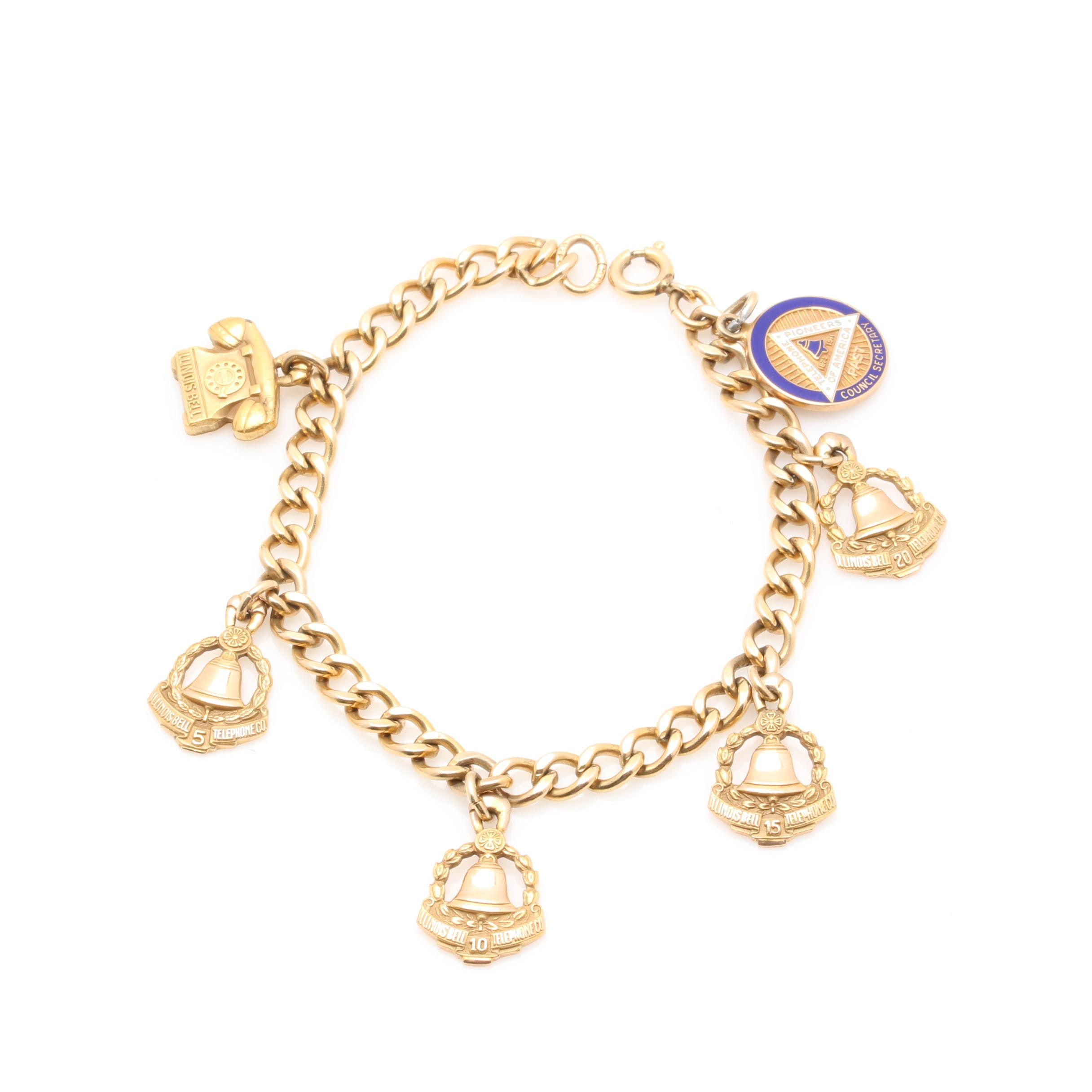 10K Yellow Gold and 12K Gold Filled Service Charm Bracelet
