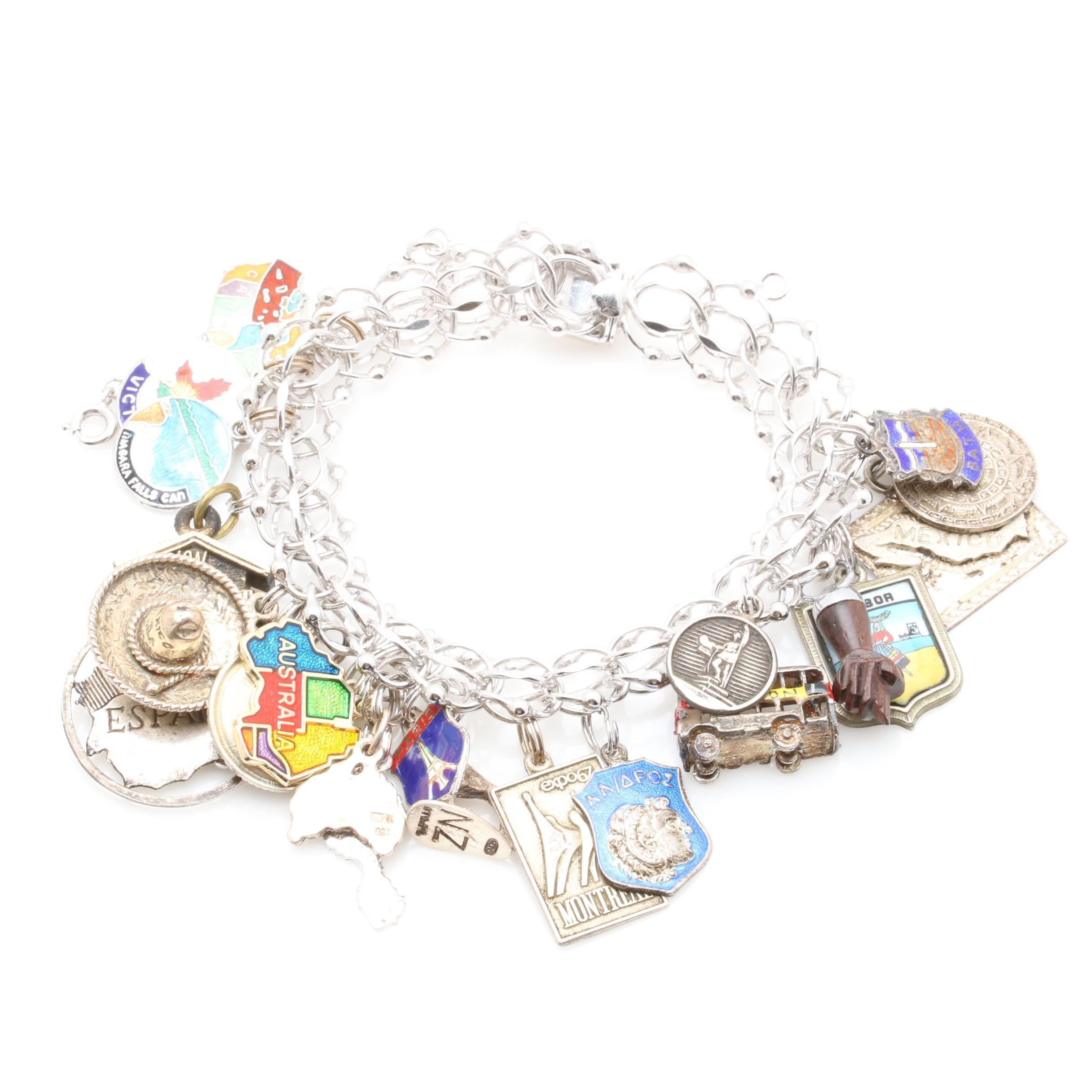 Sterling Silver Enamel Travel Charm Bracelet