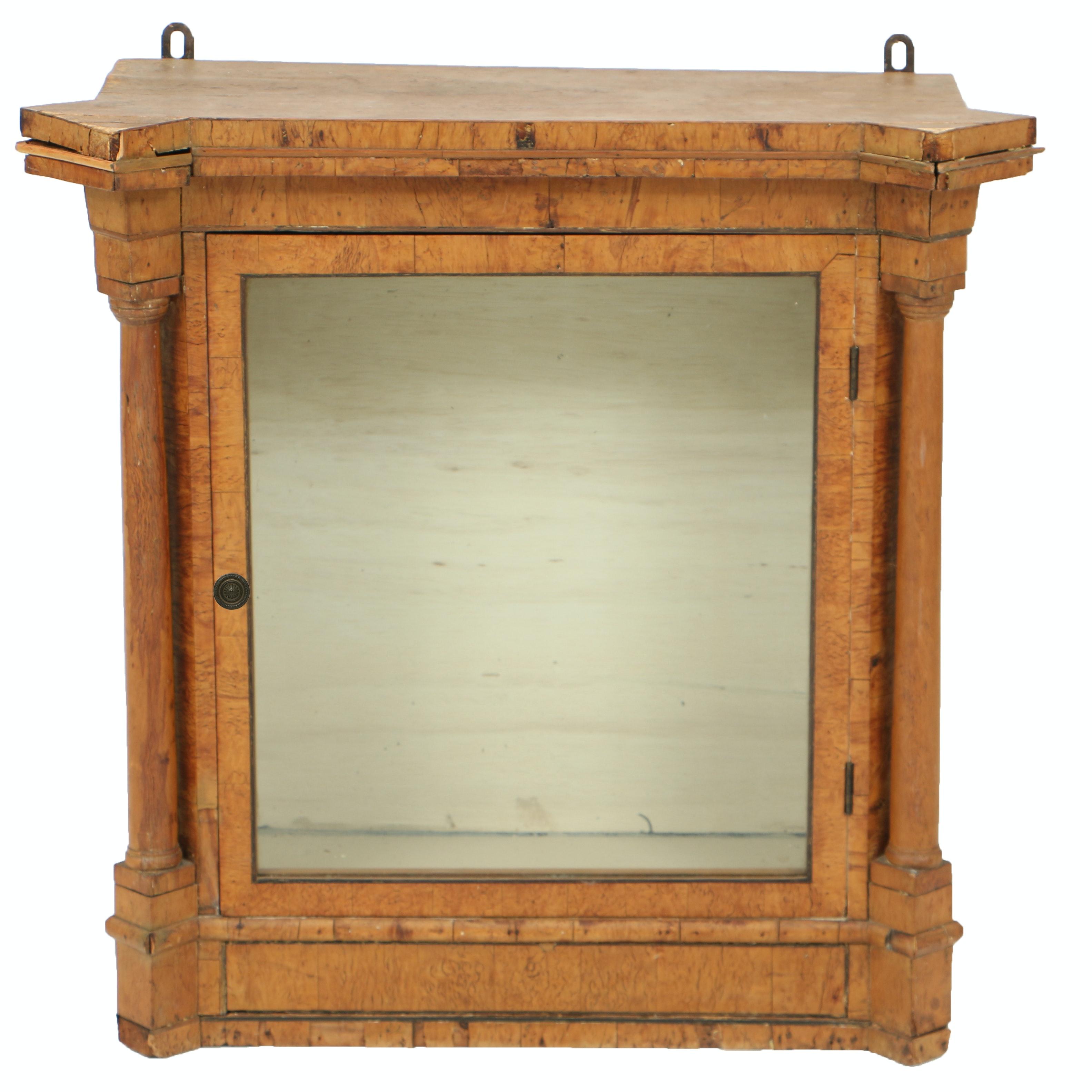 Antique Neoclassical Burlwood Vitrine Cabinet, 19th Century