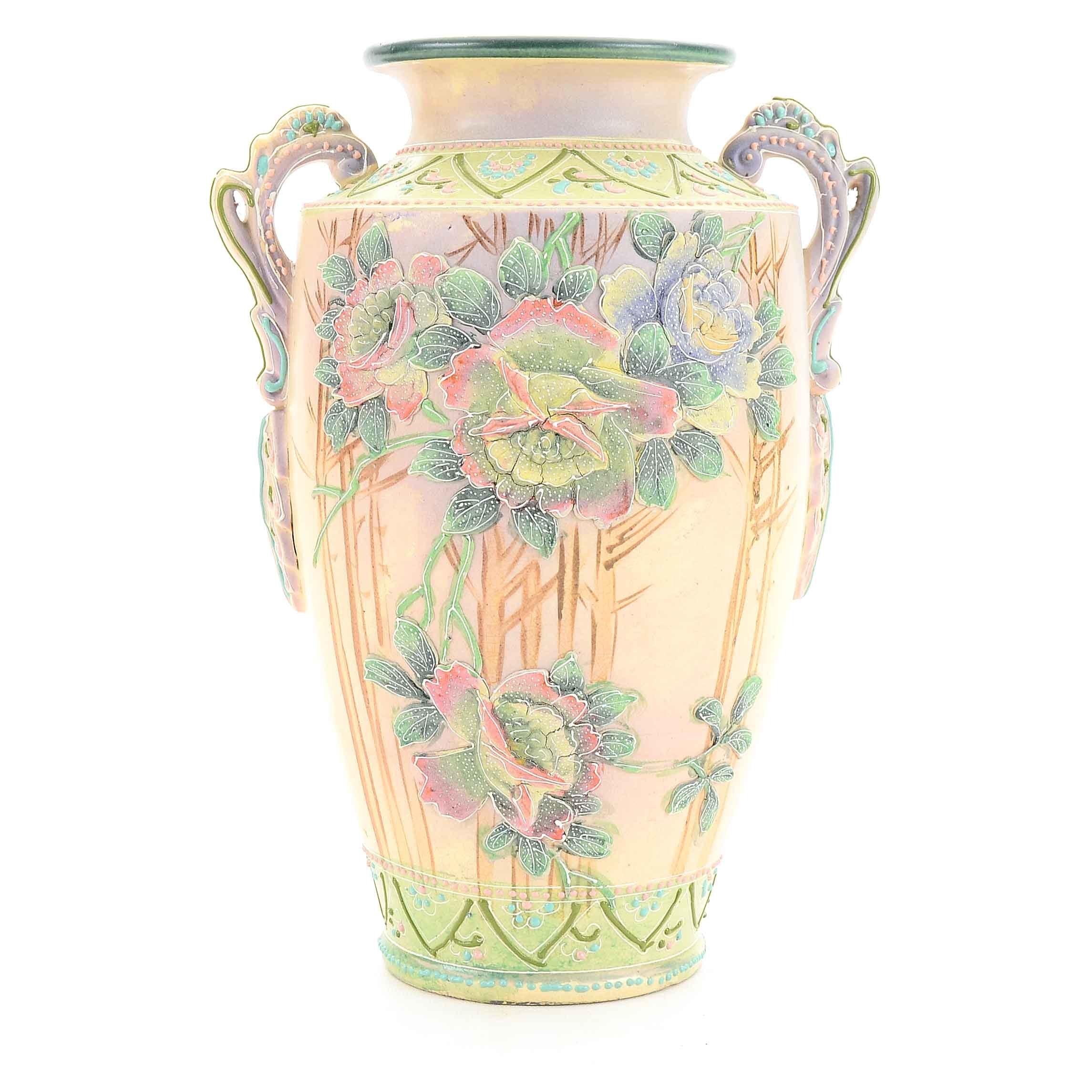 Vintage Moriage Floral Ceramic Vase